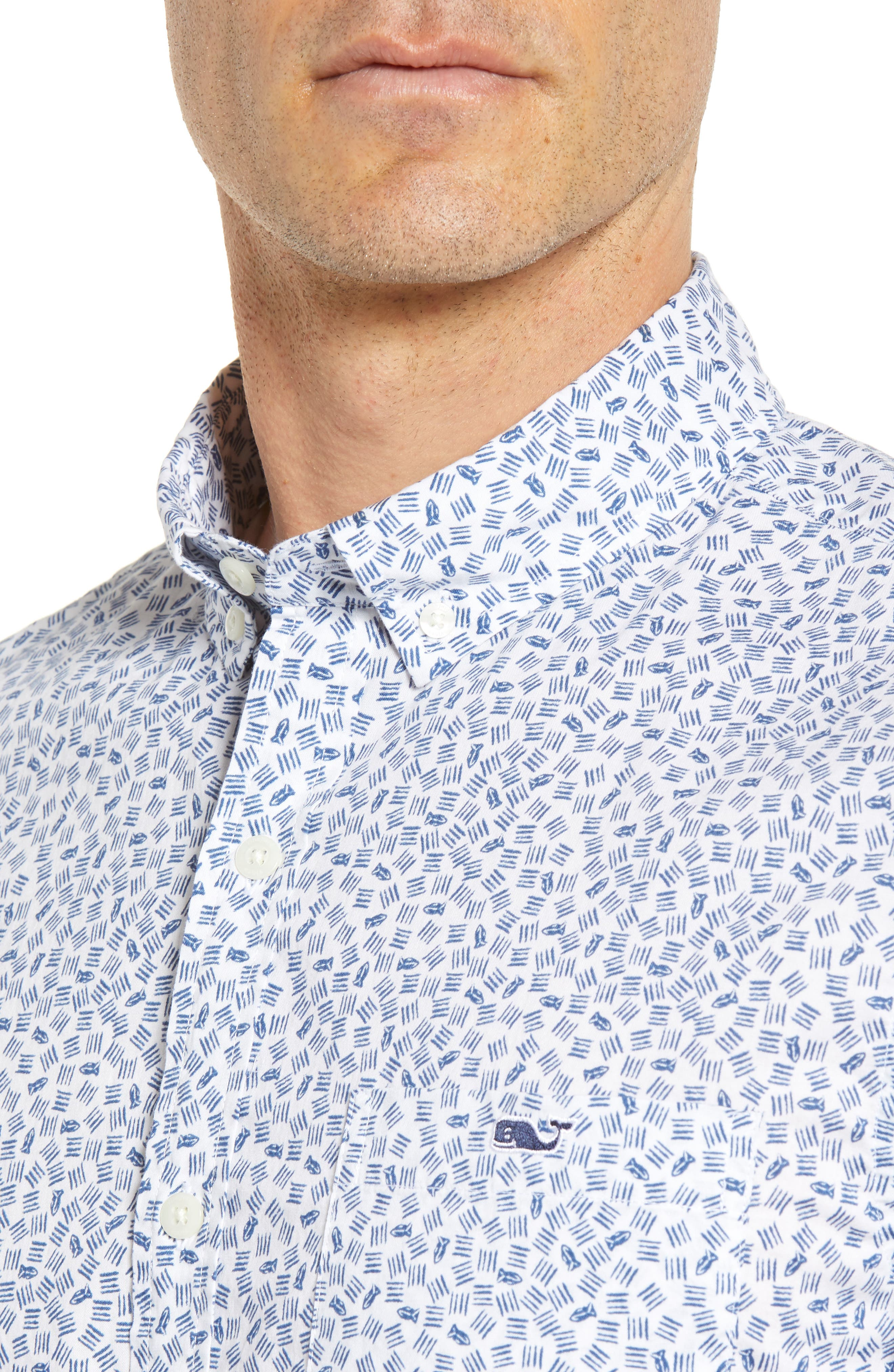 Fish Dash Tucker Slim Fit Sport Shirt,                             Alternate thumbnail 4, color,                             100
