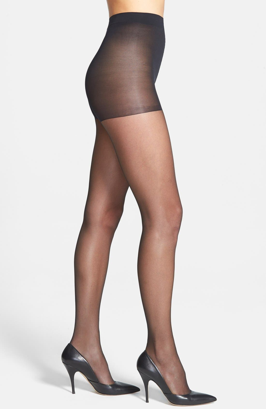 'Sheer Essentials - Matte Ultra Sheer' Control Top Pantyhose,                             Main thumbnail 1, color,                             BLACK