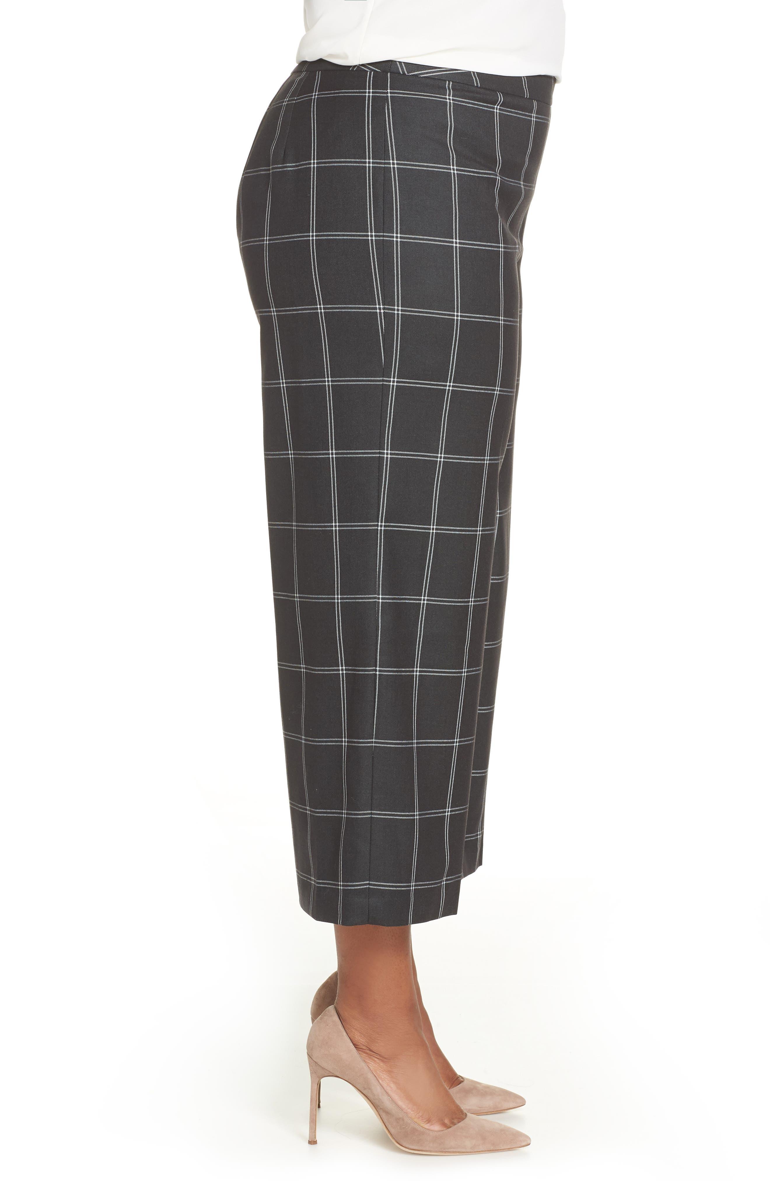 Windowpane Check Wide Leg Crop Pants,                             Alternate thumbnail 3, color,                             GREY TWILL PLAID