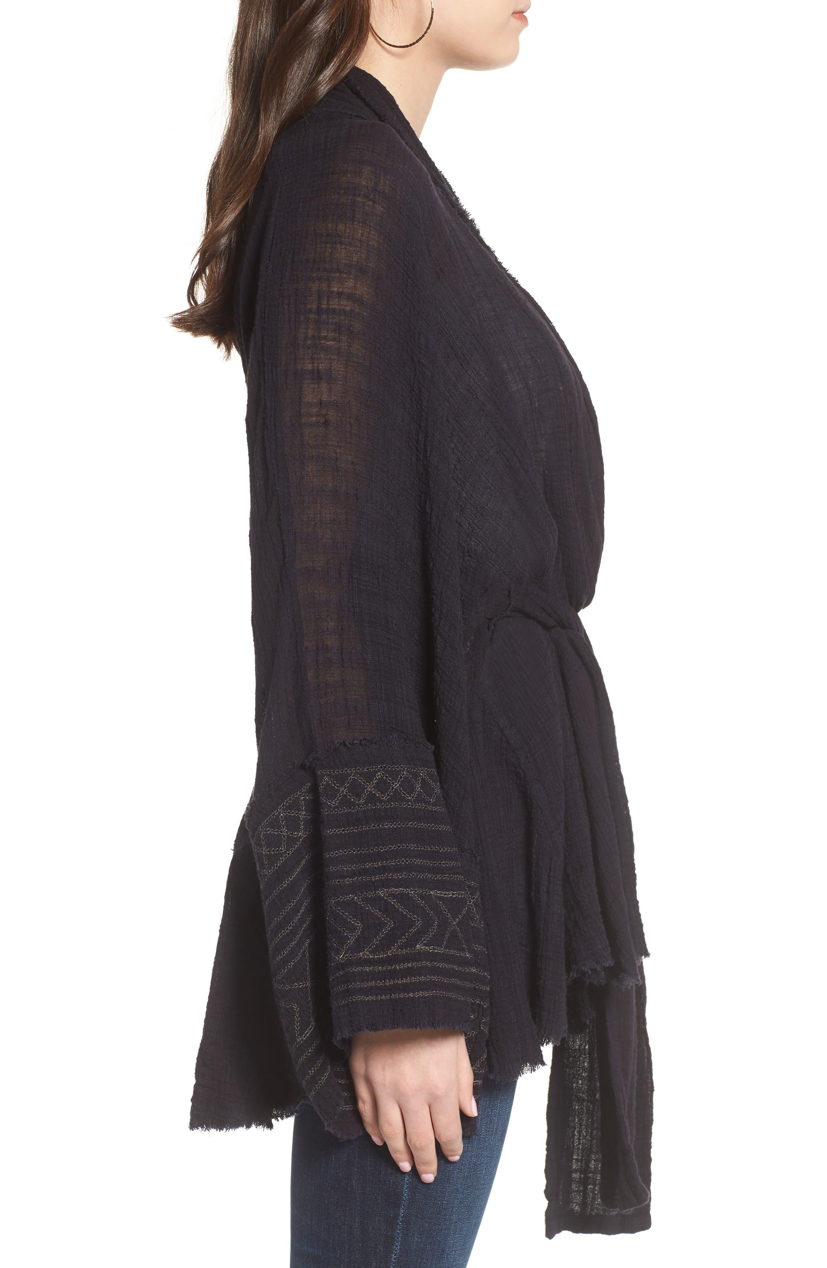 Tie Wrap Kimono,                             Alternate thumbnail 3, color,                             BLACK