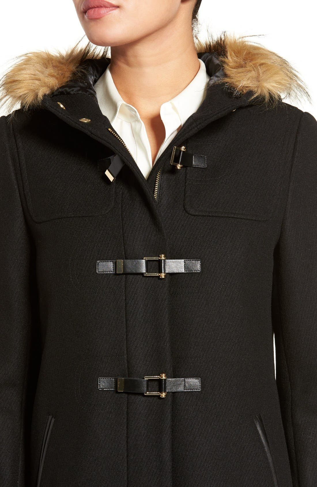 Cole Haan Hooded Duffle Coat with Faux Fur Trim,                             Alternate thumbnail 4, color,                             BLACK