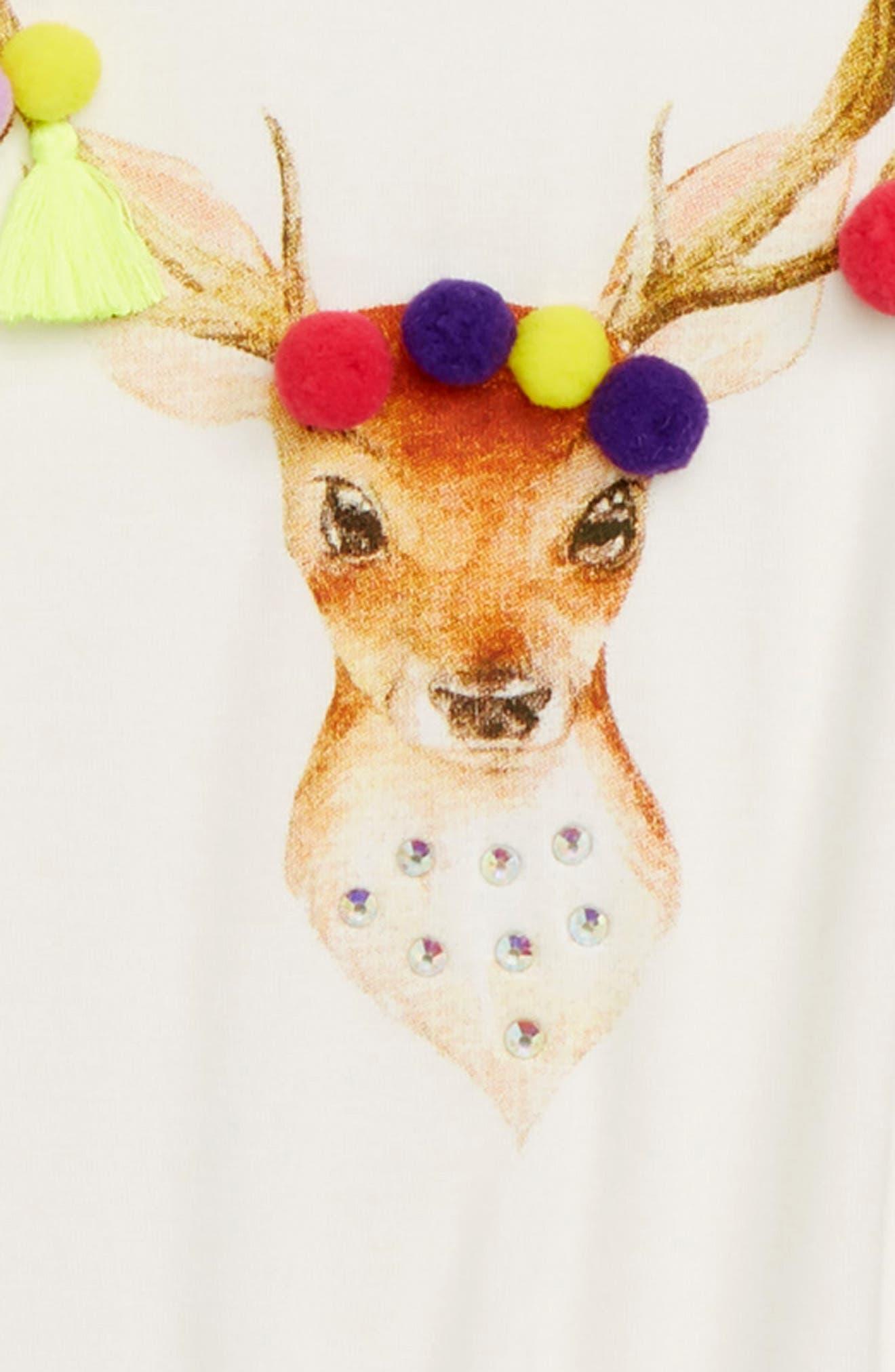 Holiday Deer Embellished Tee,                             Alternate thumbnail 2, color,                             WHITE