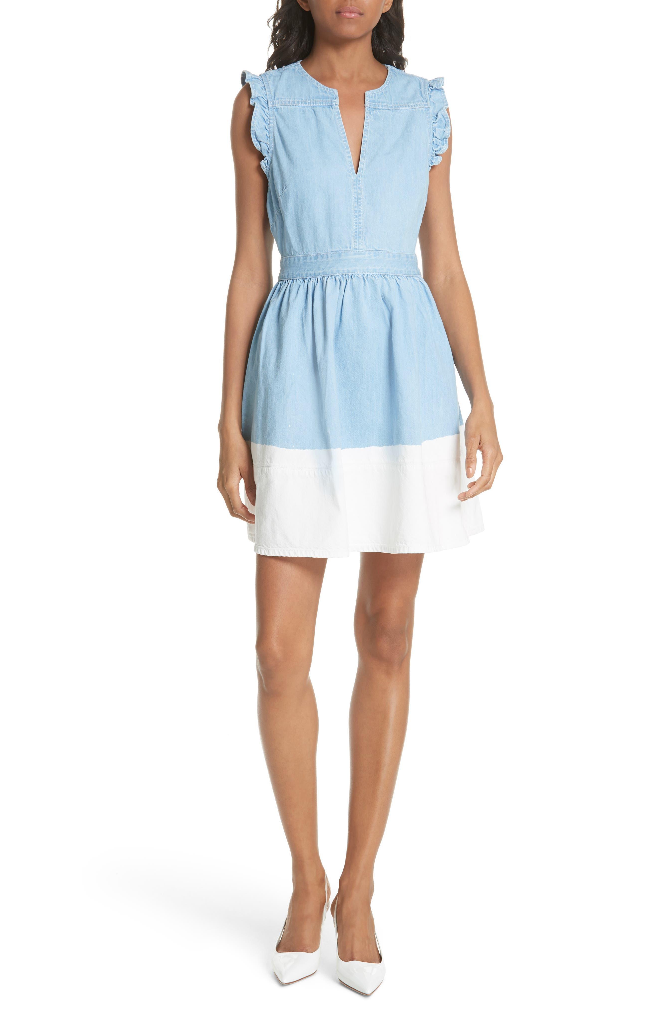 dip dye denim dress, Main, color, 429