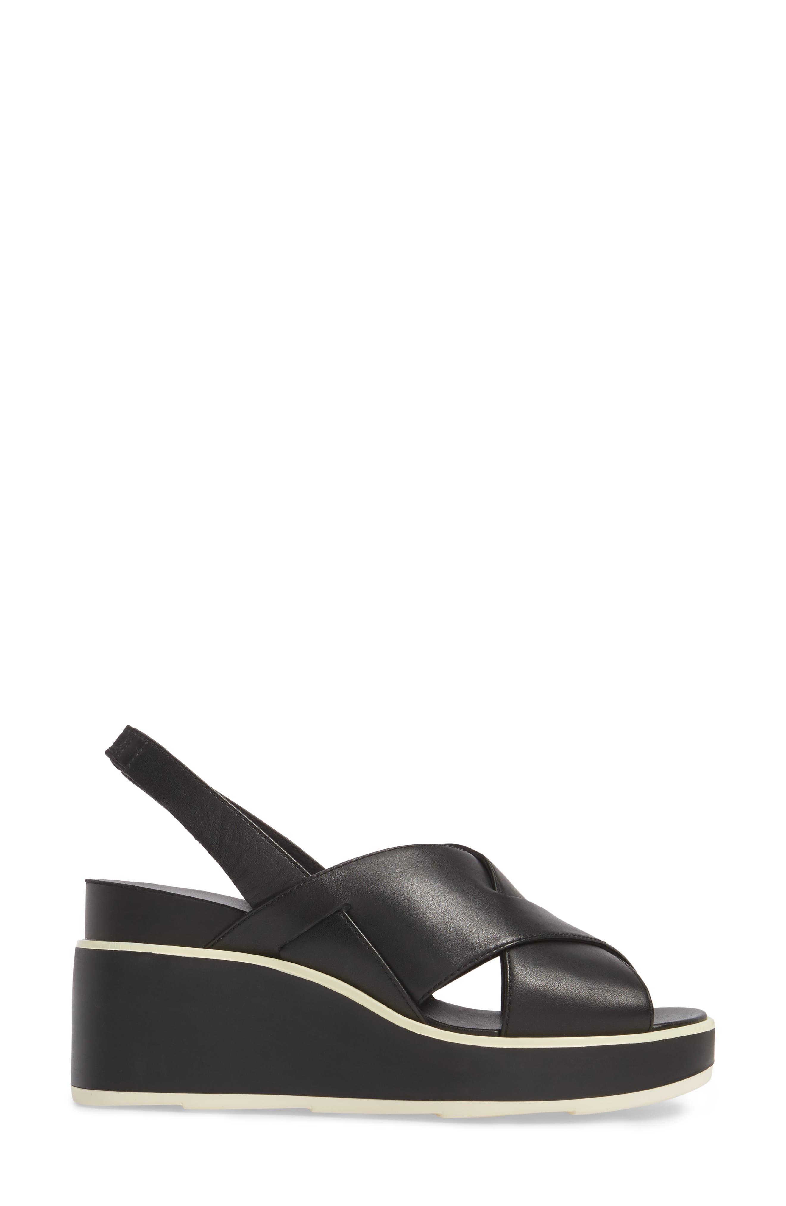 Tropik Cross Strap Wedge Sandal,                             Alternate thumbnail 3, color,                             BLACK LEATHER