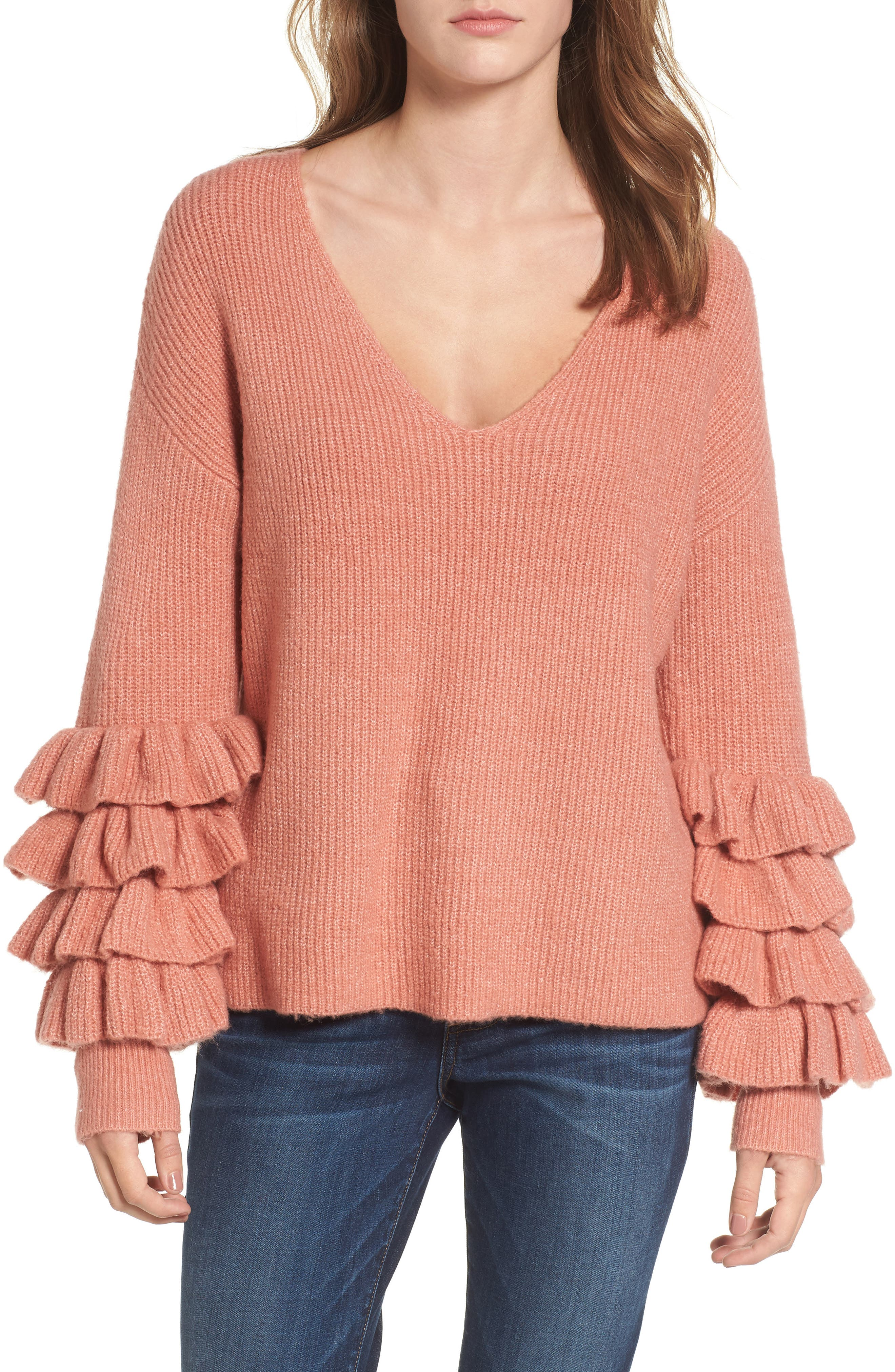 Ruffle Sleeve V-Neck Sweater,                             Main thumbnail 2, color,