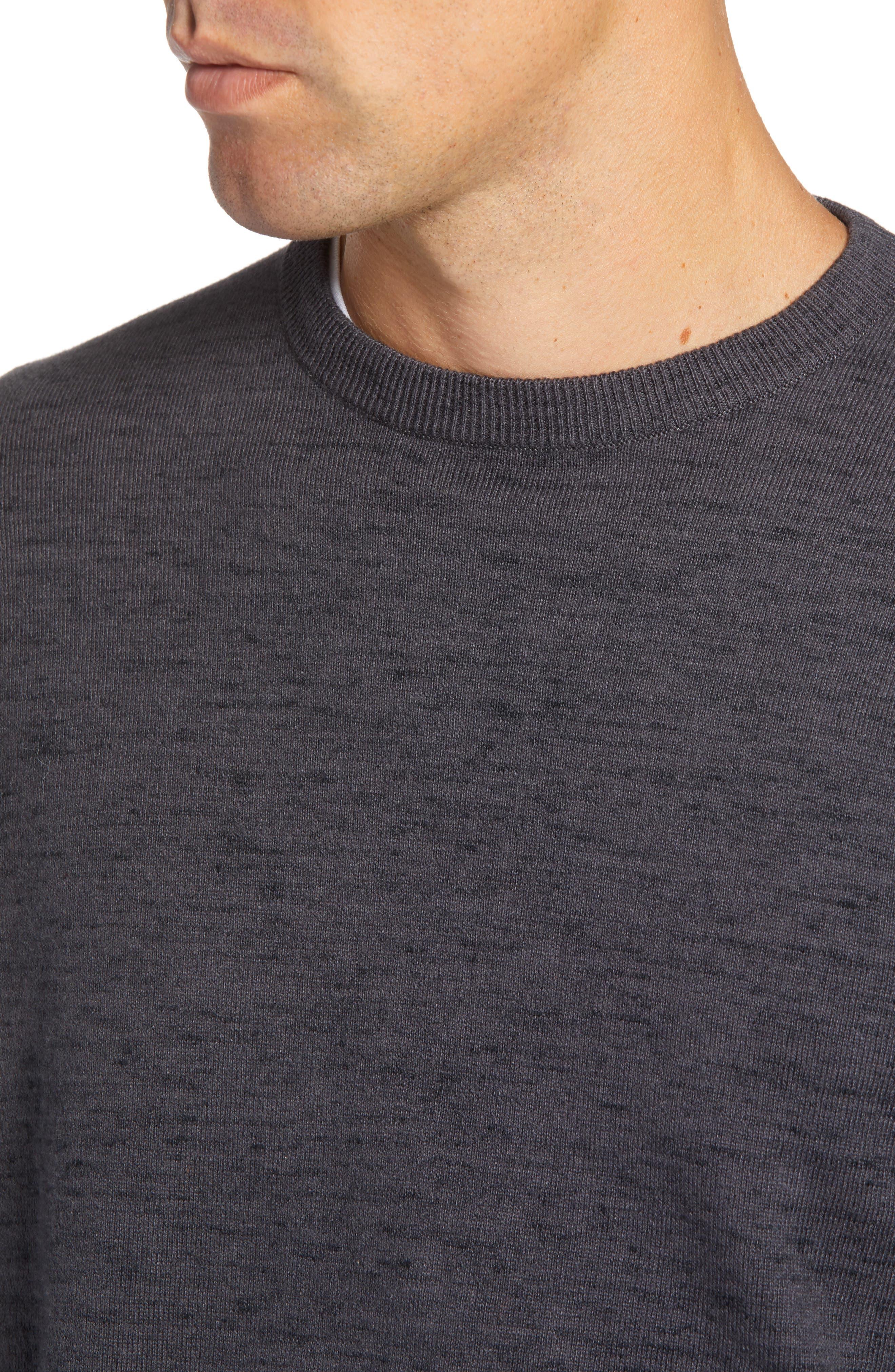 Regular Fit Crewneck Sweater,                             Alternate thumbnail 4, color,                             GREY DARK CHARCOAL HEATHER