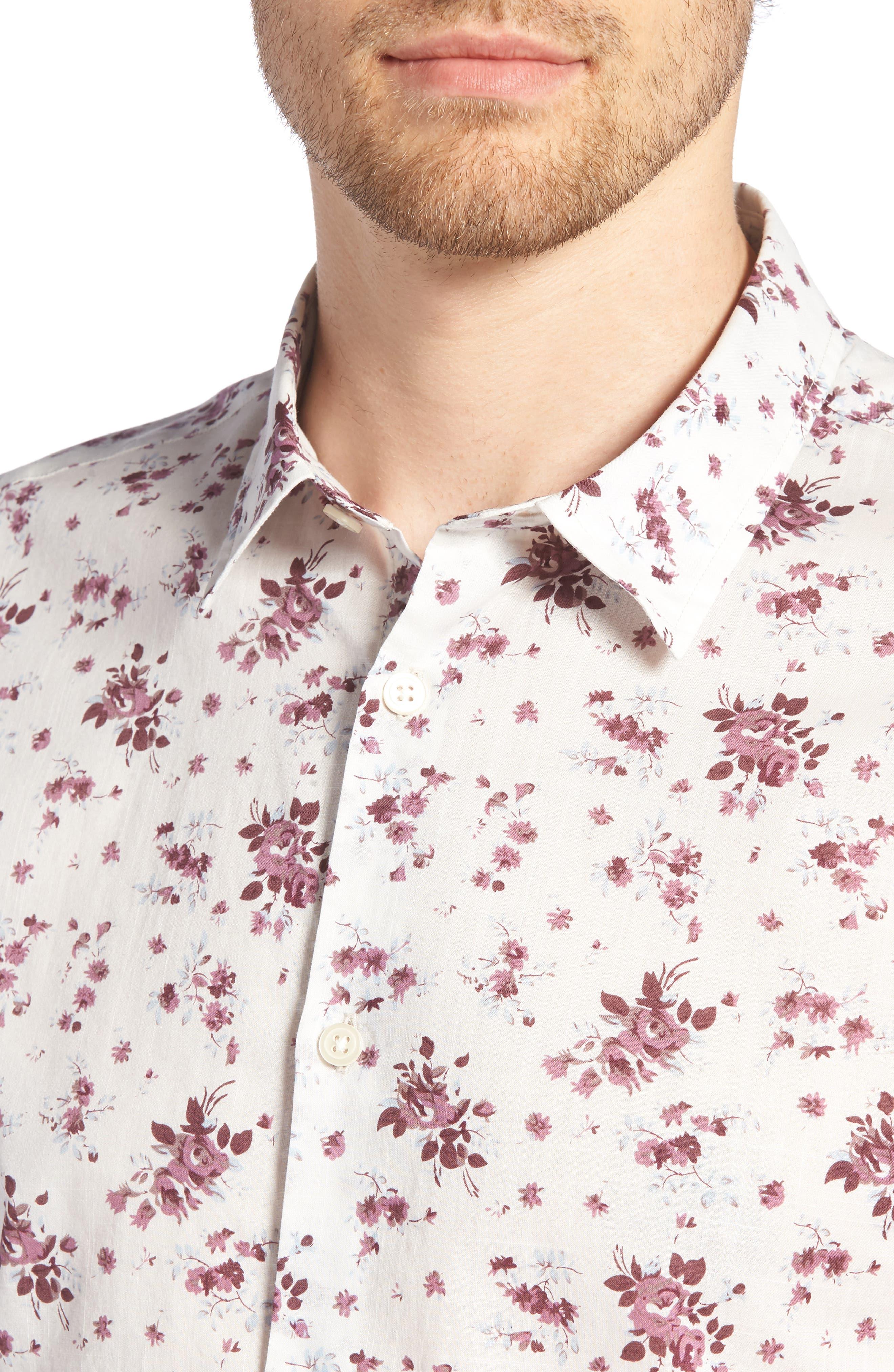 Regular Fit Floral Woven Shirt,                             Alternate thumbnail 4, color,                             ANTIQUE ROSE