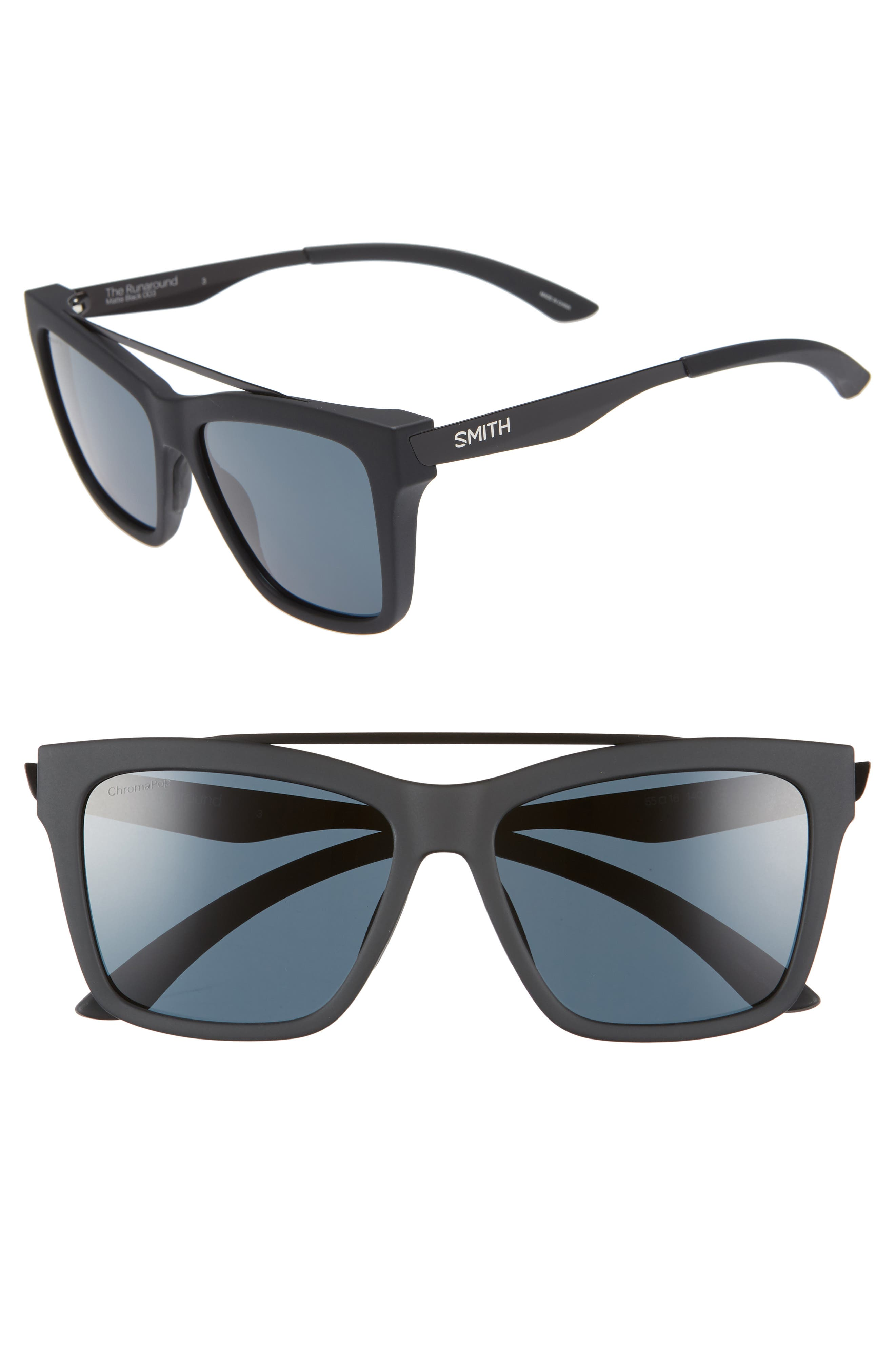 SMITH,                             The Runaround 55mm ChromaPop<sup>™</sup> Polarized Sunglasses,                             Main thumbnail 1, color,                             MATTE BLACK