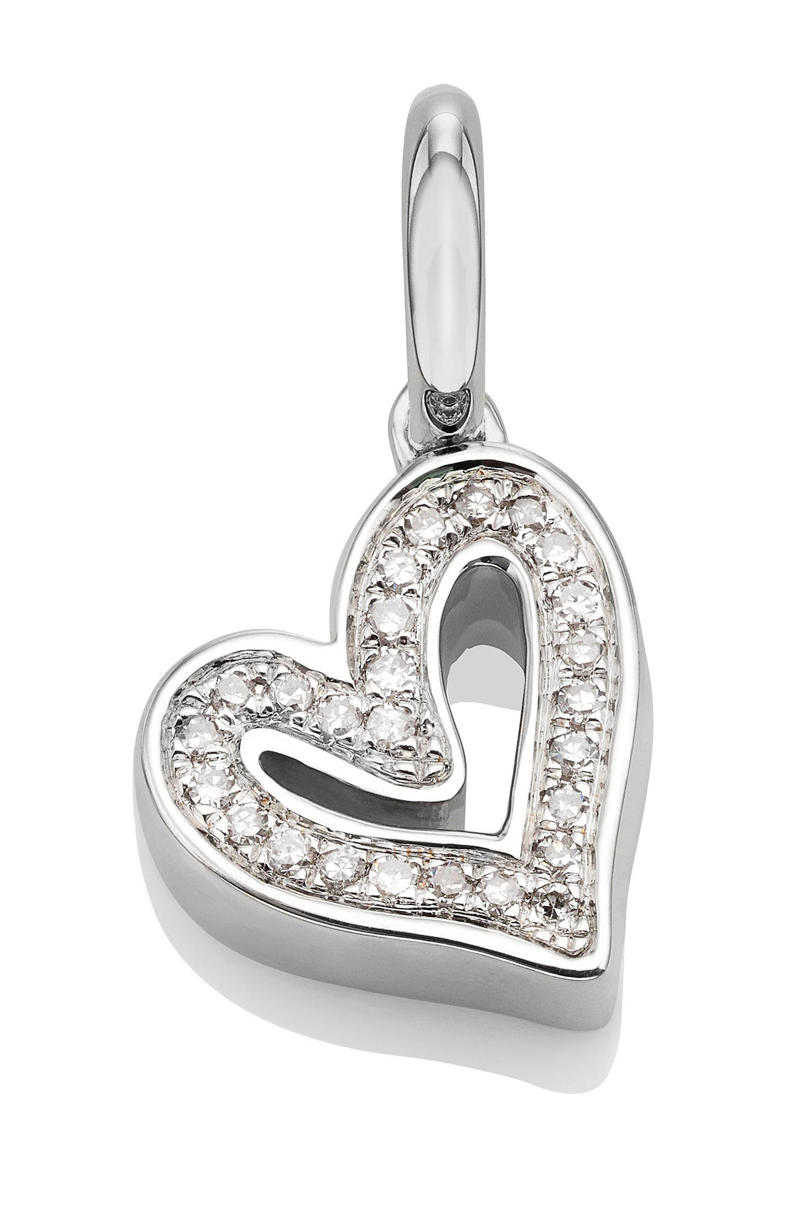 Alphabet Heart Diamond Pendant Charm,                             Main thumbnail 1, color,                             SILVER