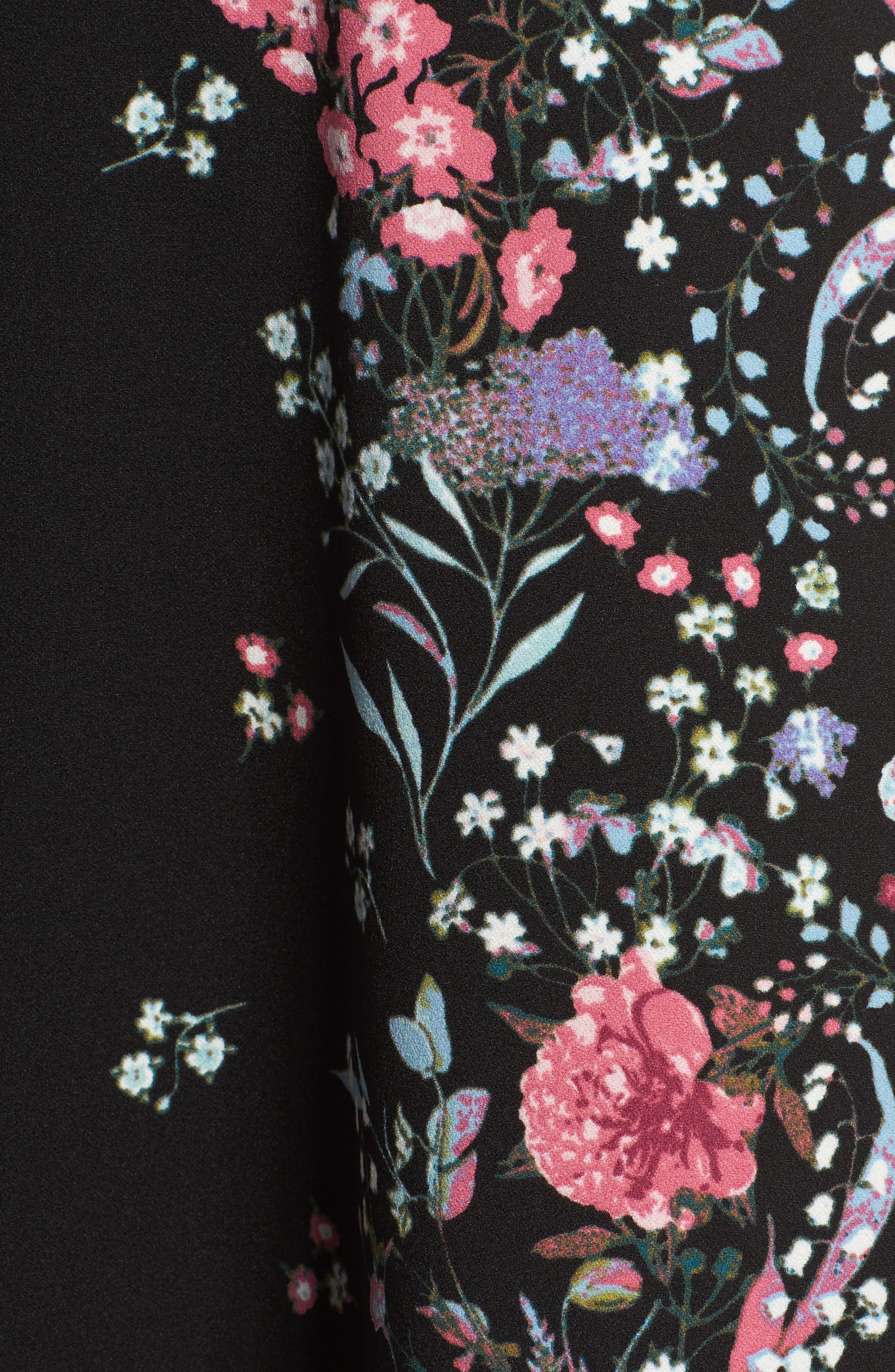 Print Scuba Knit Fit & Flare Dress,                             Alternate thumbnail 5, color,                             009