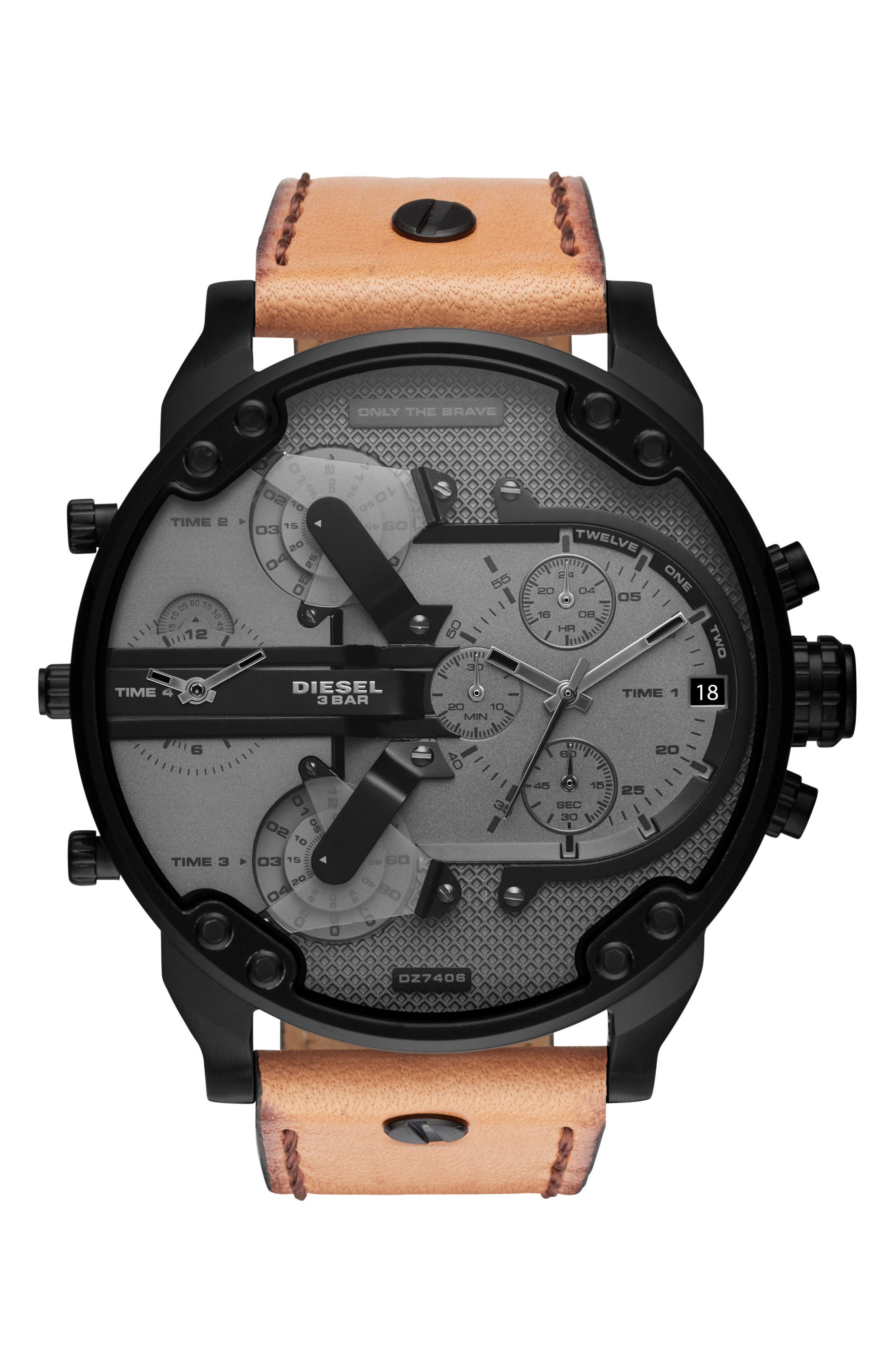 Mr. Daddy 2.0 Chronograph Leather Strap Watch, 57mm x 66mm,                         Main,                         color,