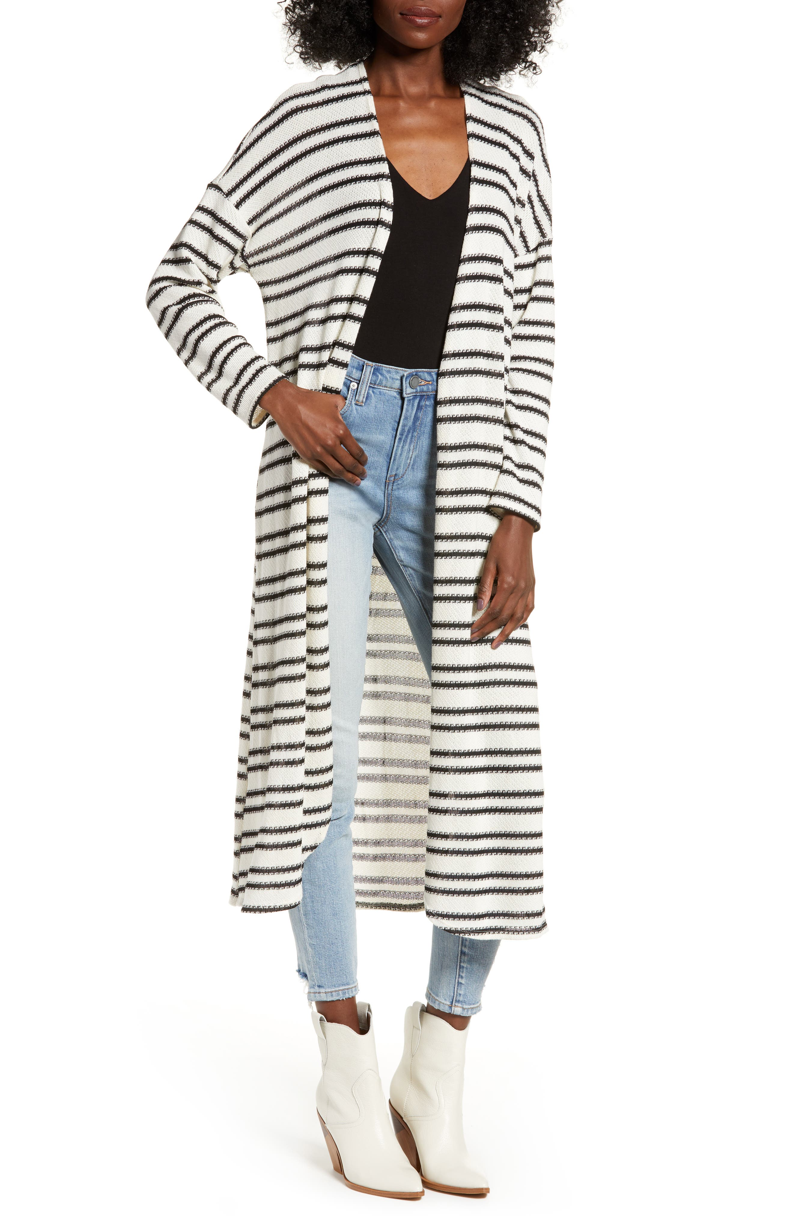 ALL IN FAVOR Stripe Longline Cardigan, Main, color, IVORY/ BLACK STRIPE