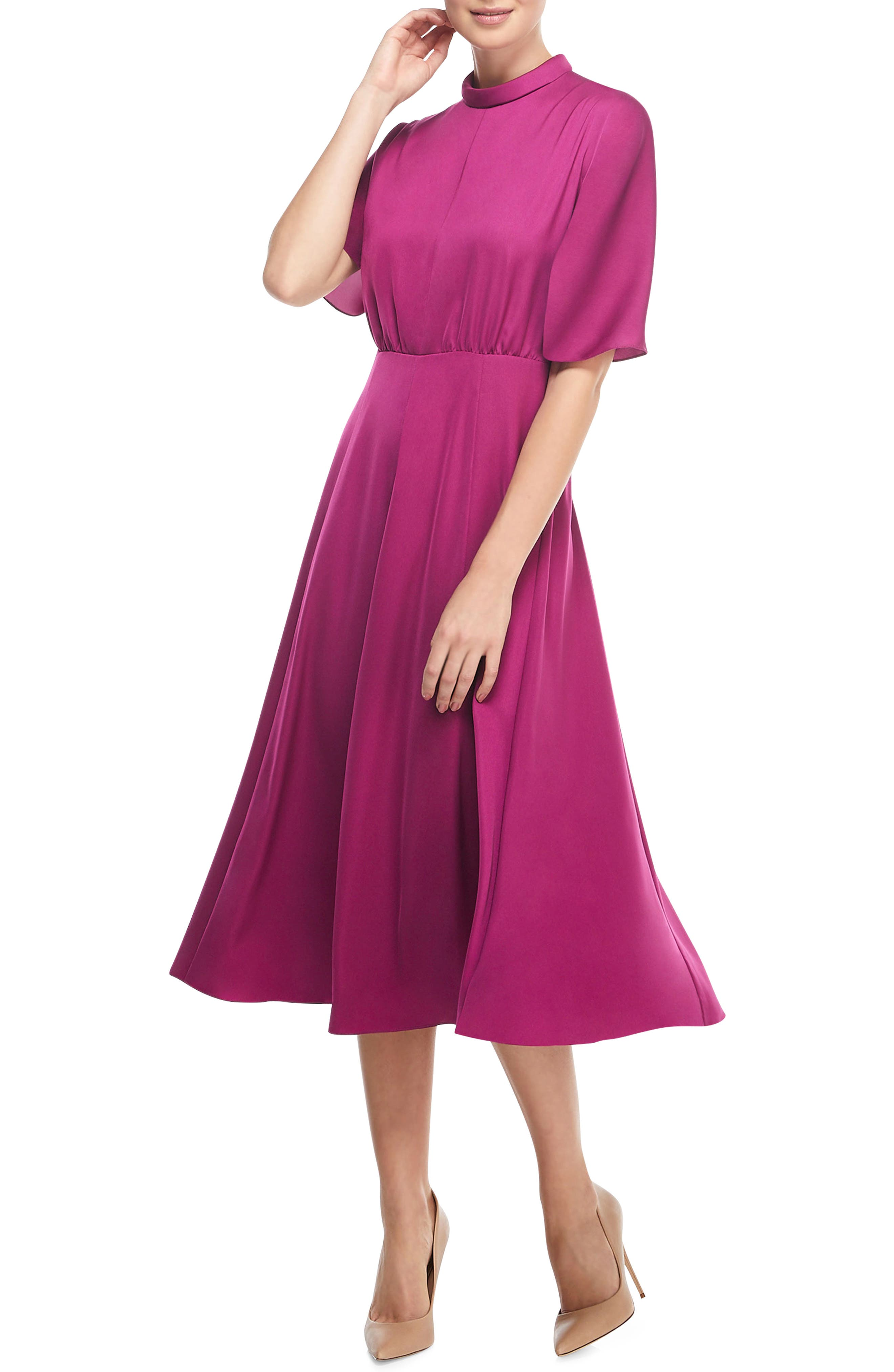 Gal Meets Glam Collection Diane Mock Neck Fit & Flare Midi Dress, Pink