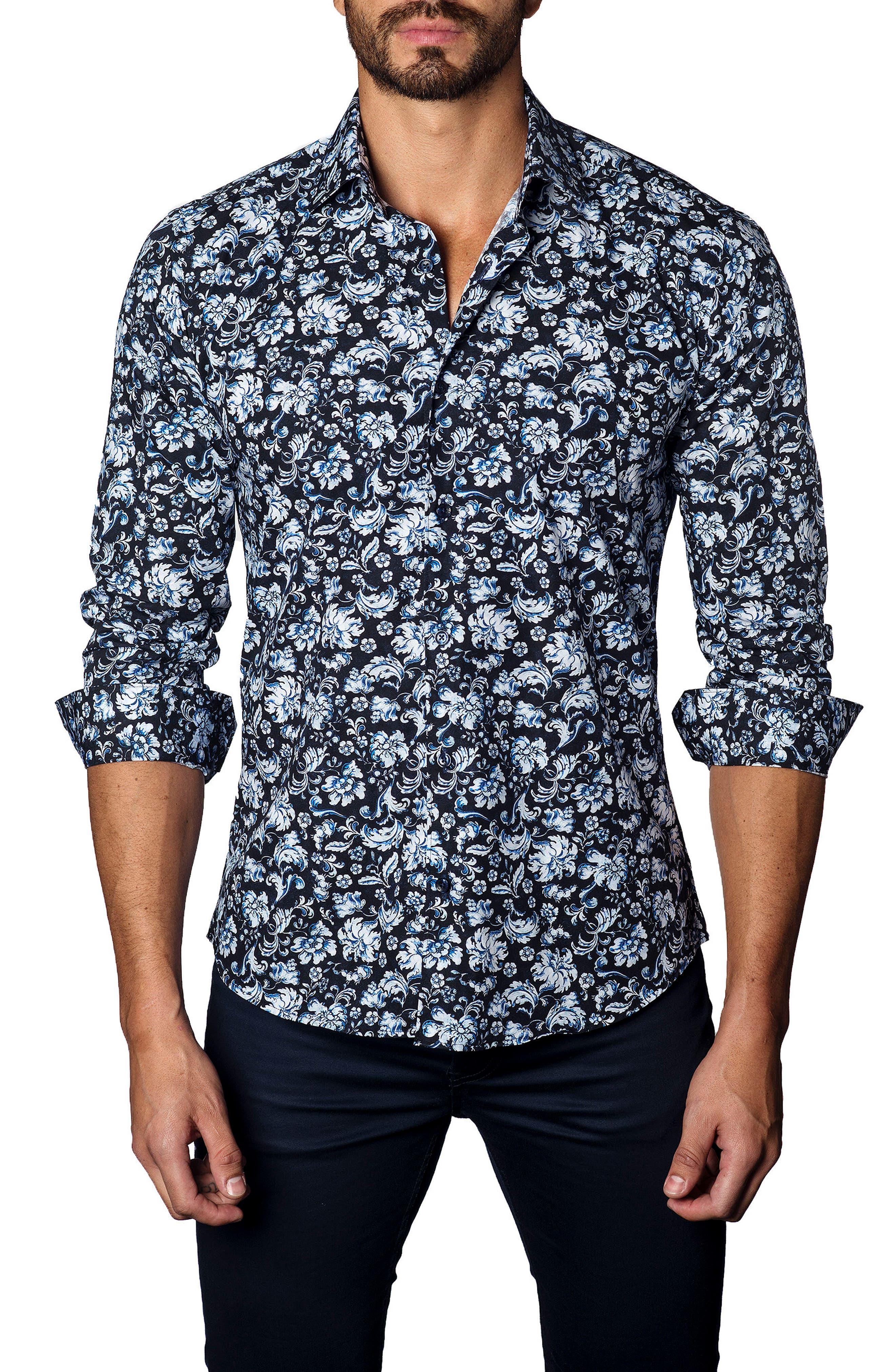 Trim Fit Damask Floral Sport Shirt,                         Main,                         color, 400