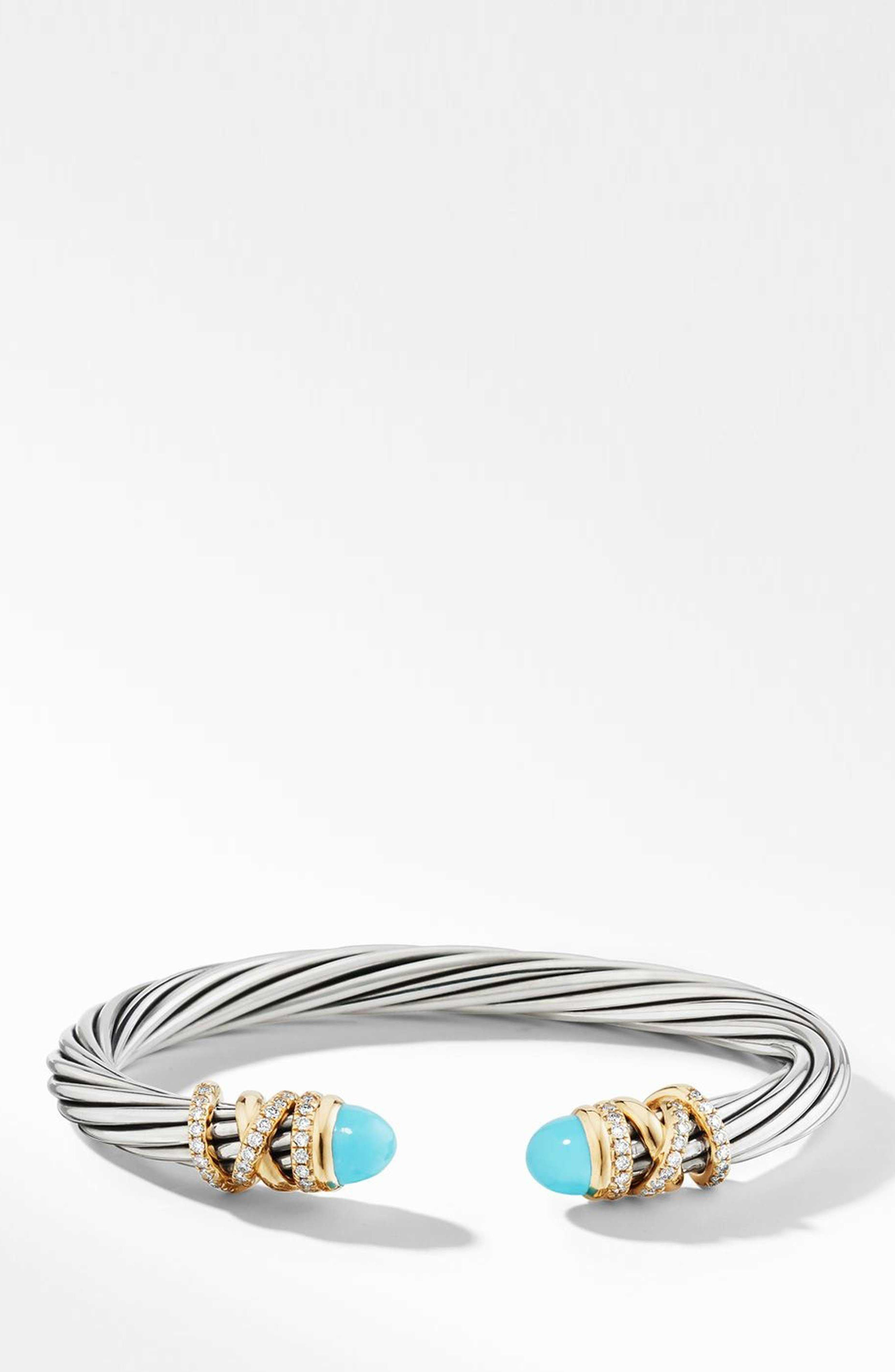 Helena Bracelet with Diamonds,                             Main thumbnail 1, color,                             GOLD/ SILVER/ TURQUOISE