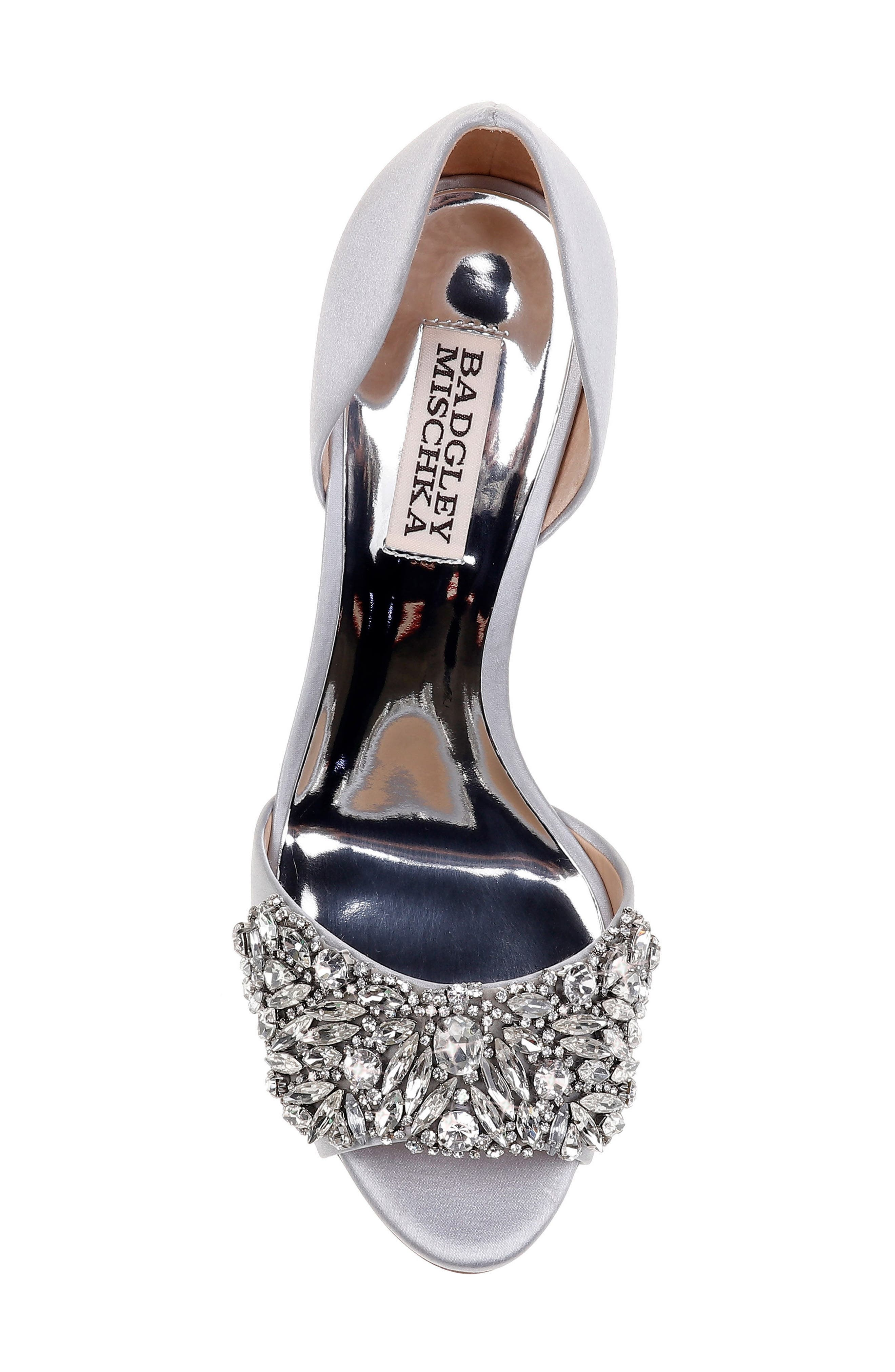 Hansen Crystal Embellished Sandal,                             Alternate thumbnail 5, color,                             SILVER SATIN