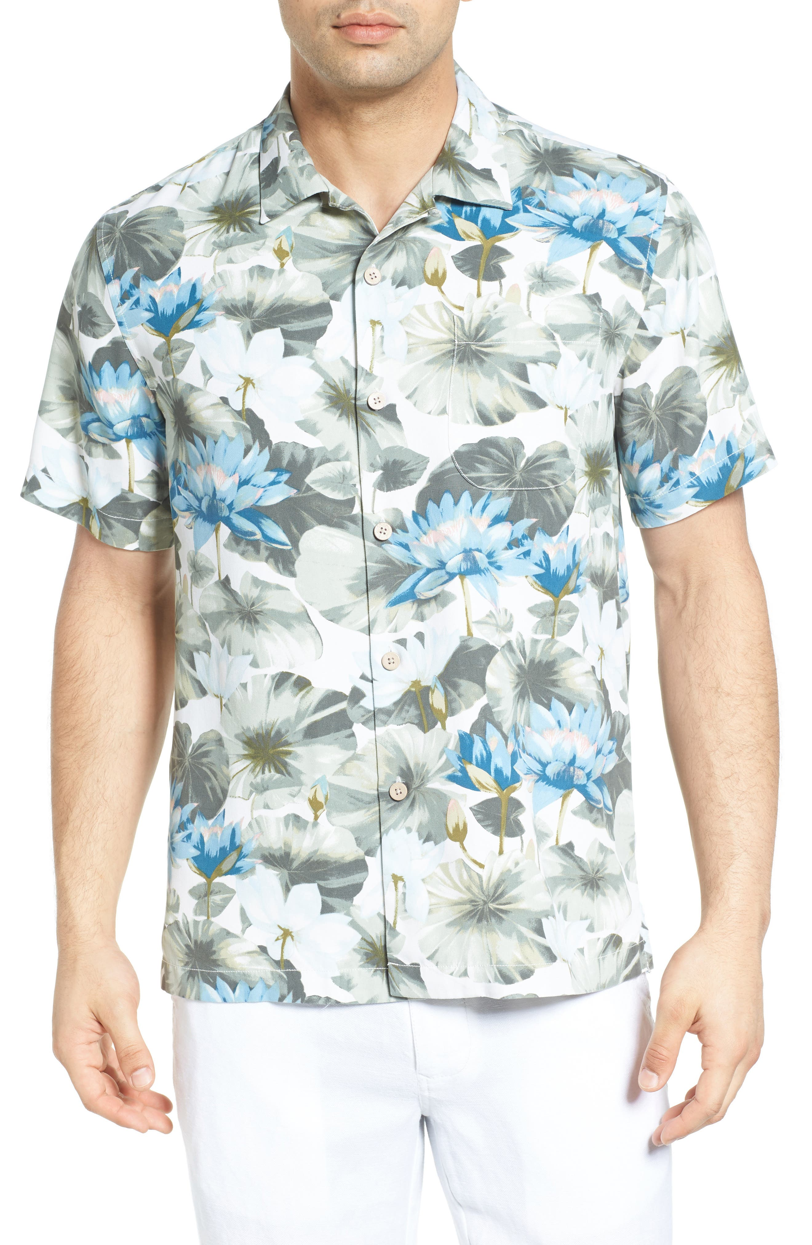Garden of Hope and Courage Silk Camp Shirt,                         Main,                         color, 100