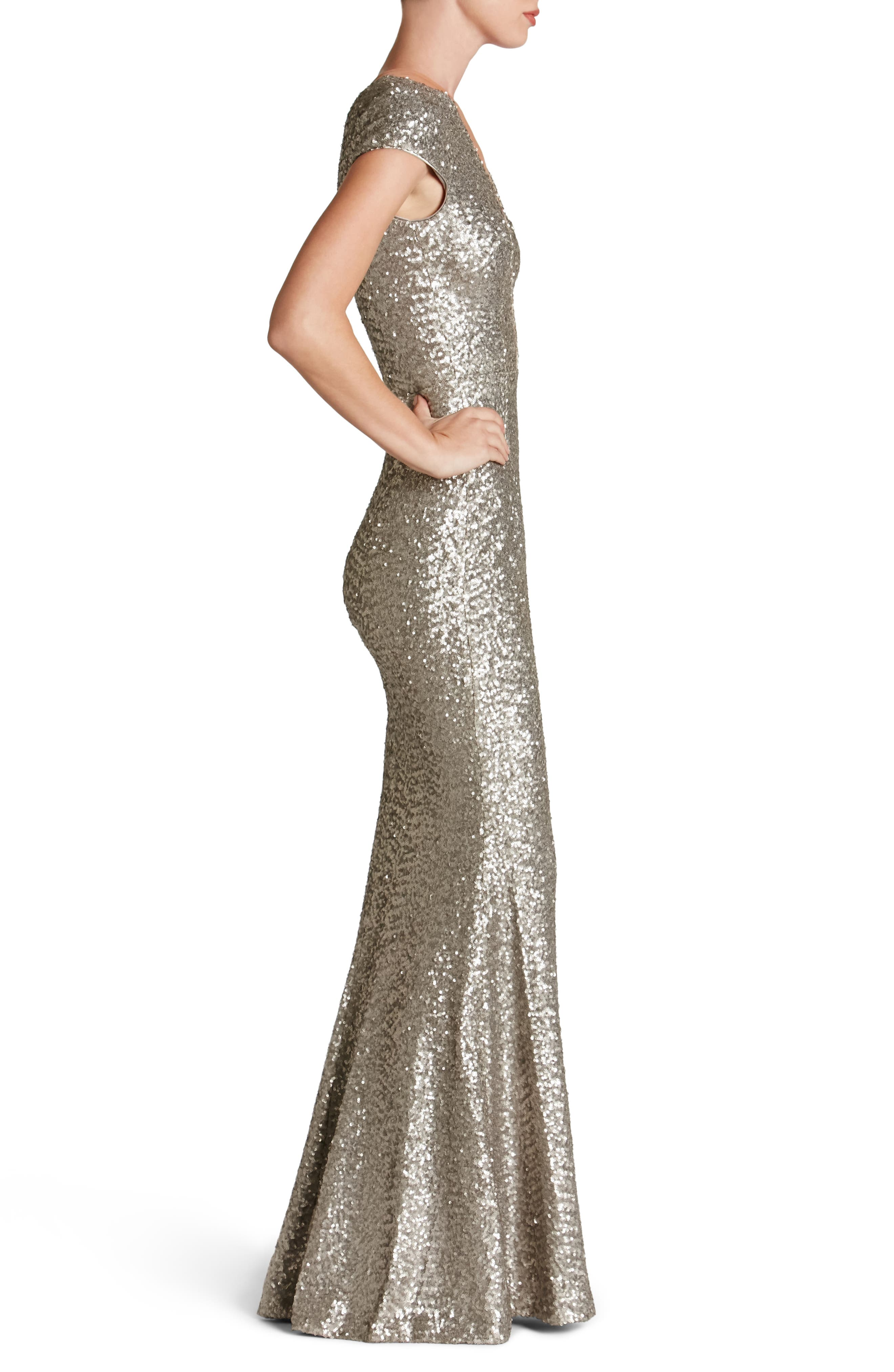 Michelle Sequin Gown,                             Alternate thumbnail 3, color,                             PLATINUM