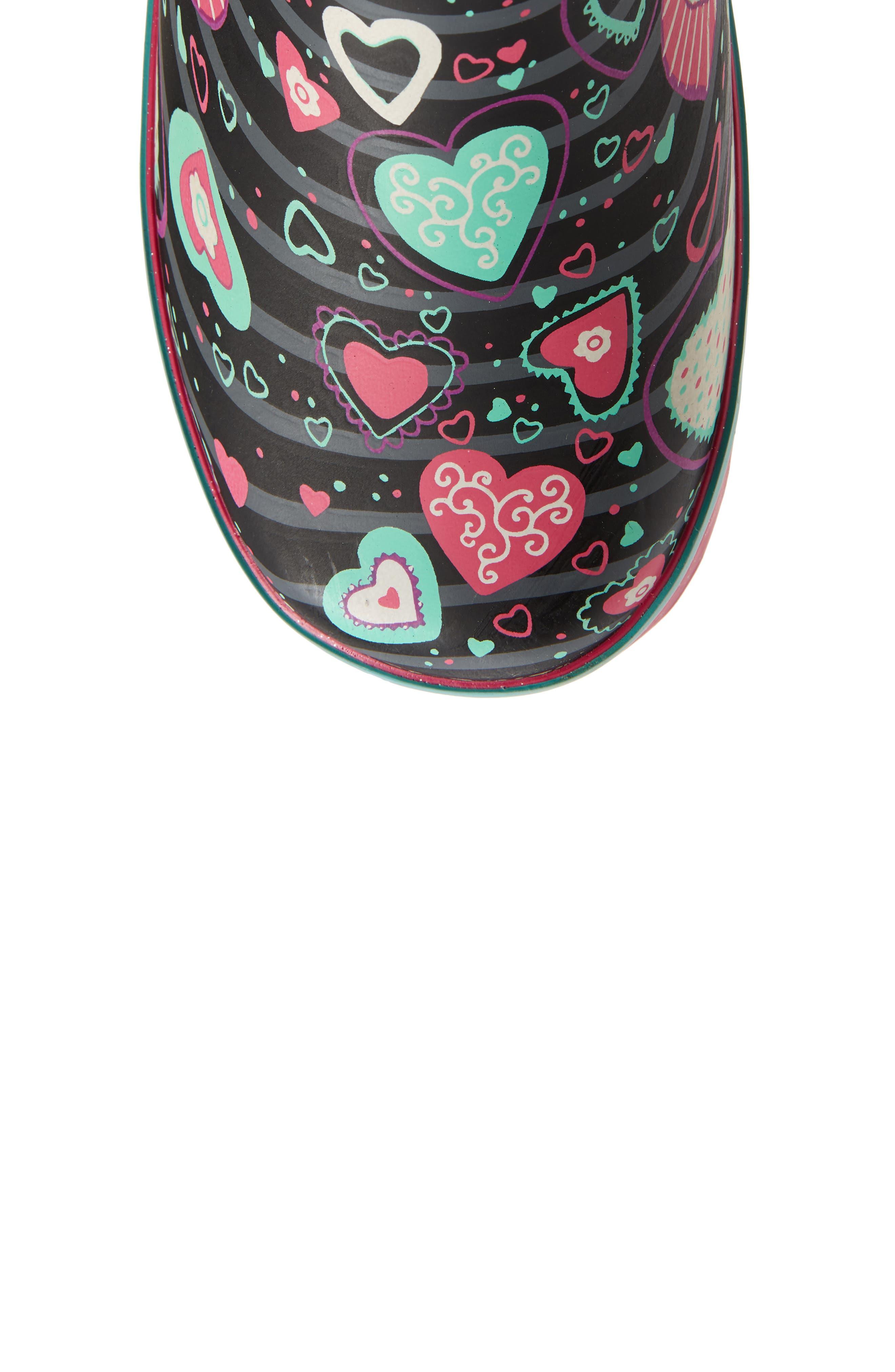 Neon Hearts Glitter Trim Waterproof Rain Boot,                             Alternate thumbnail 5, color,                             MULTI