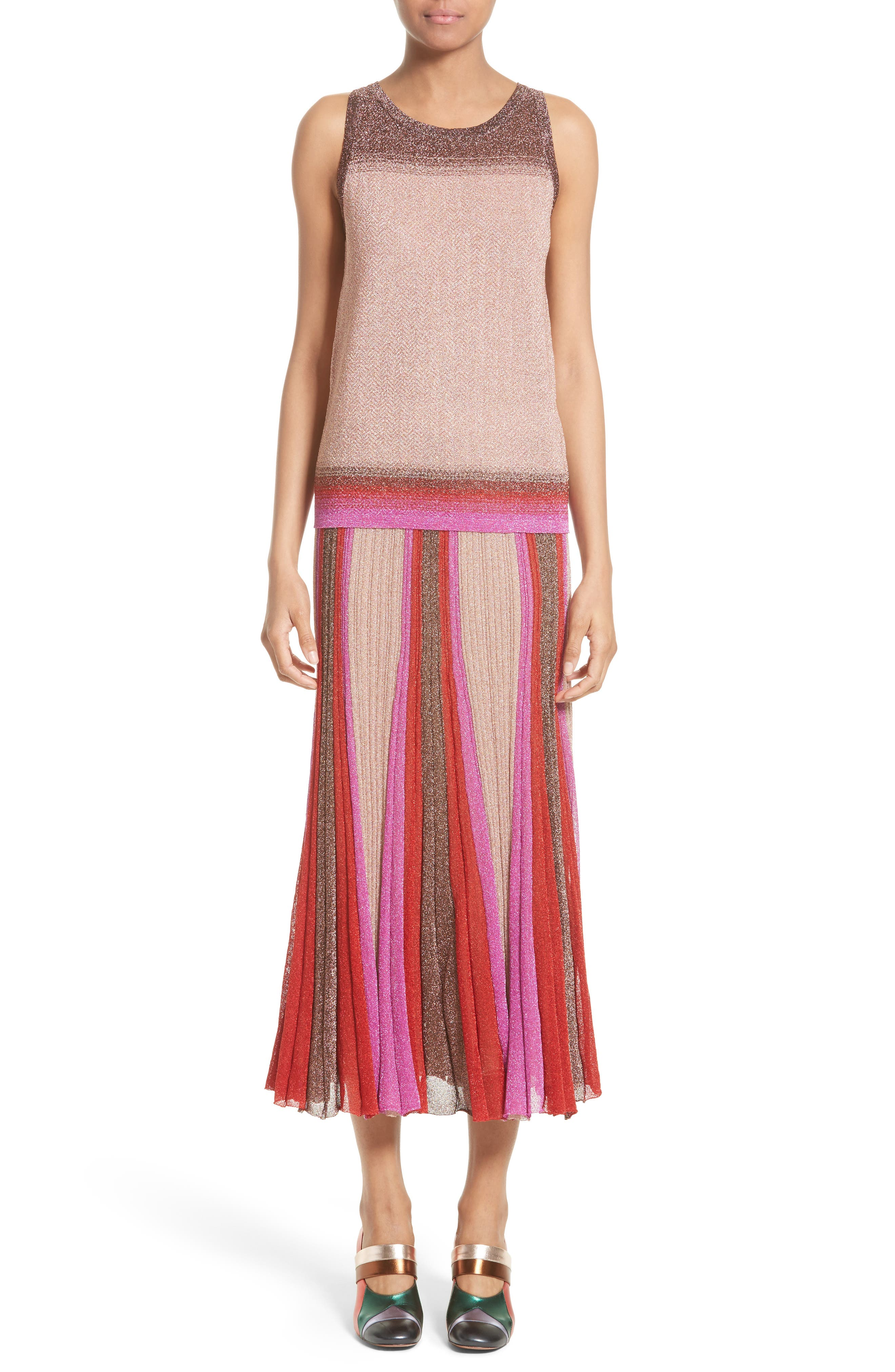 Metallic Knit Colorblock Pleated Skirt,                             Alternate thumbnail 6, color,                             650