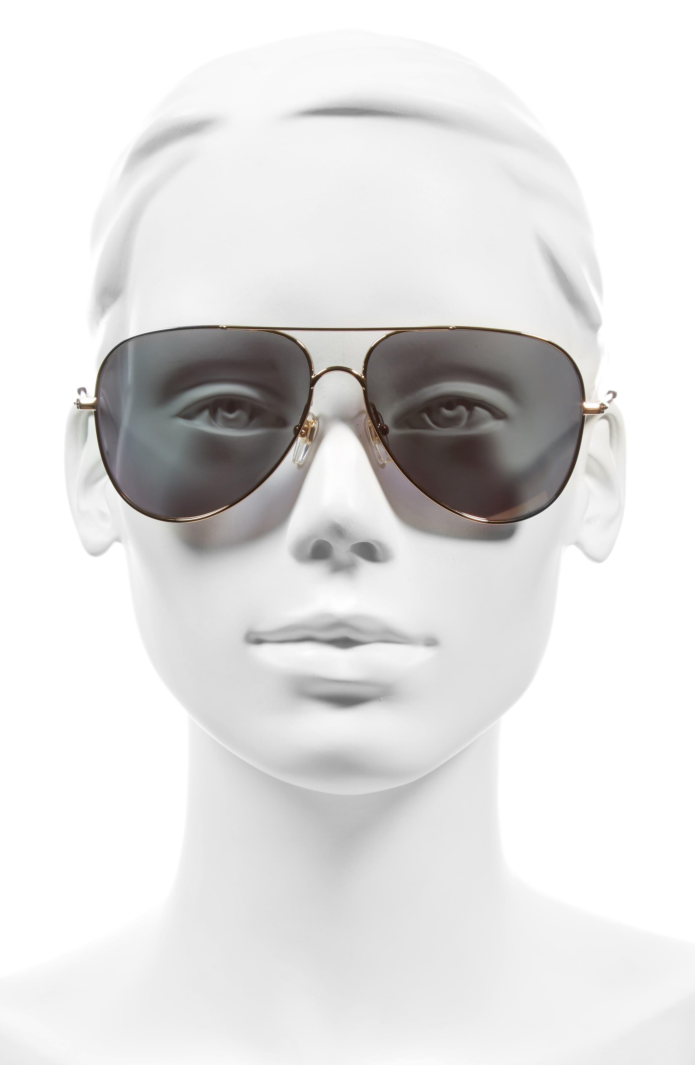 60mm Aviator Sunglasses,                             Alternate thumbnail 3, color,                             AMBER