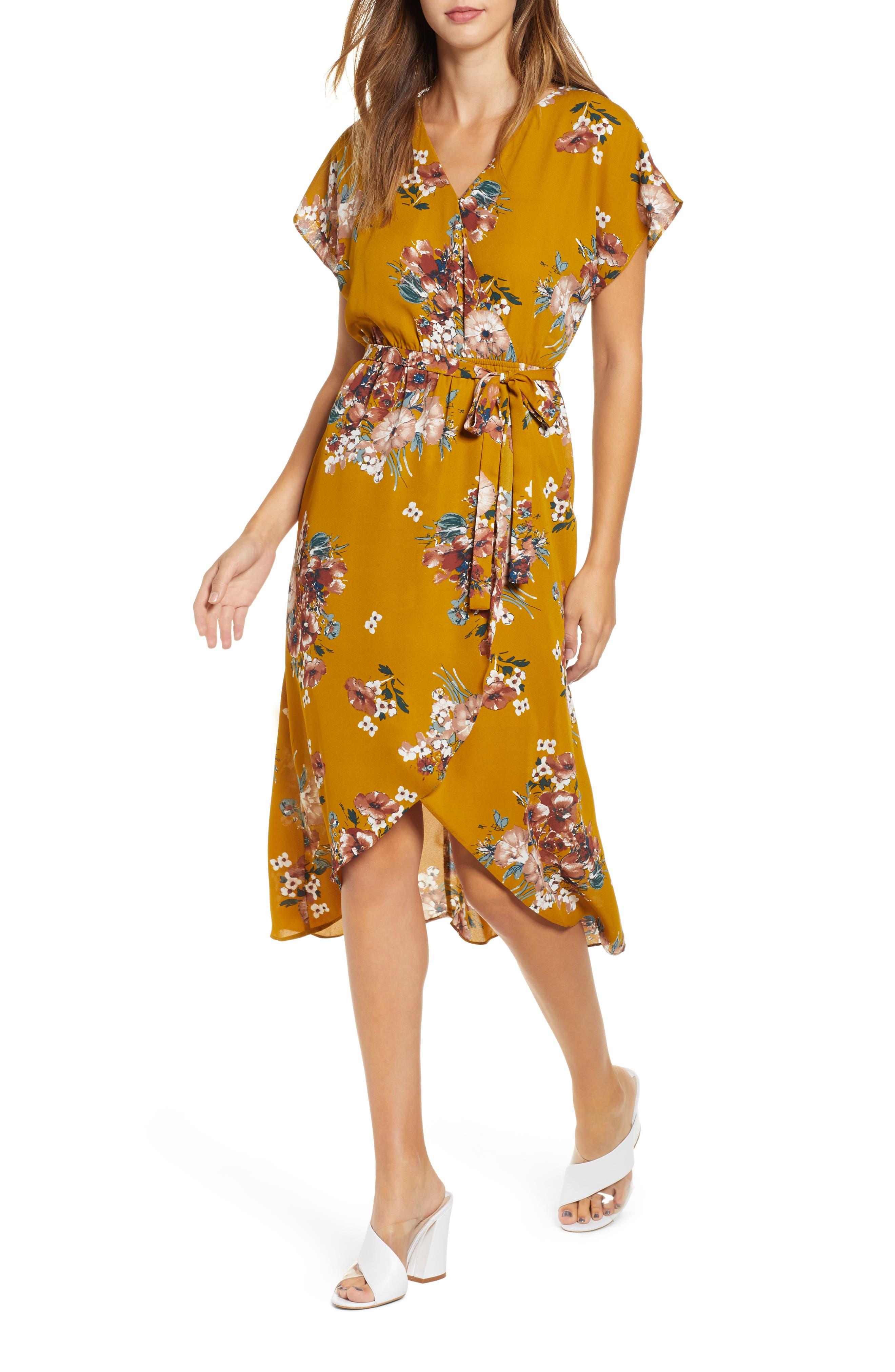 Leith Kimono Sleeve Floral Dress, Yellow