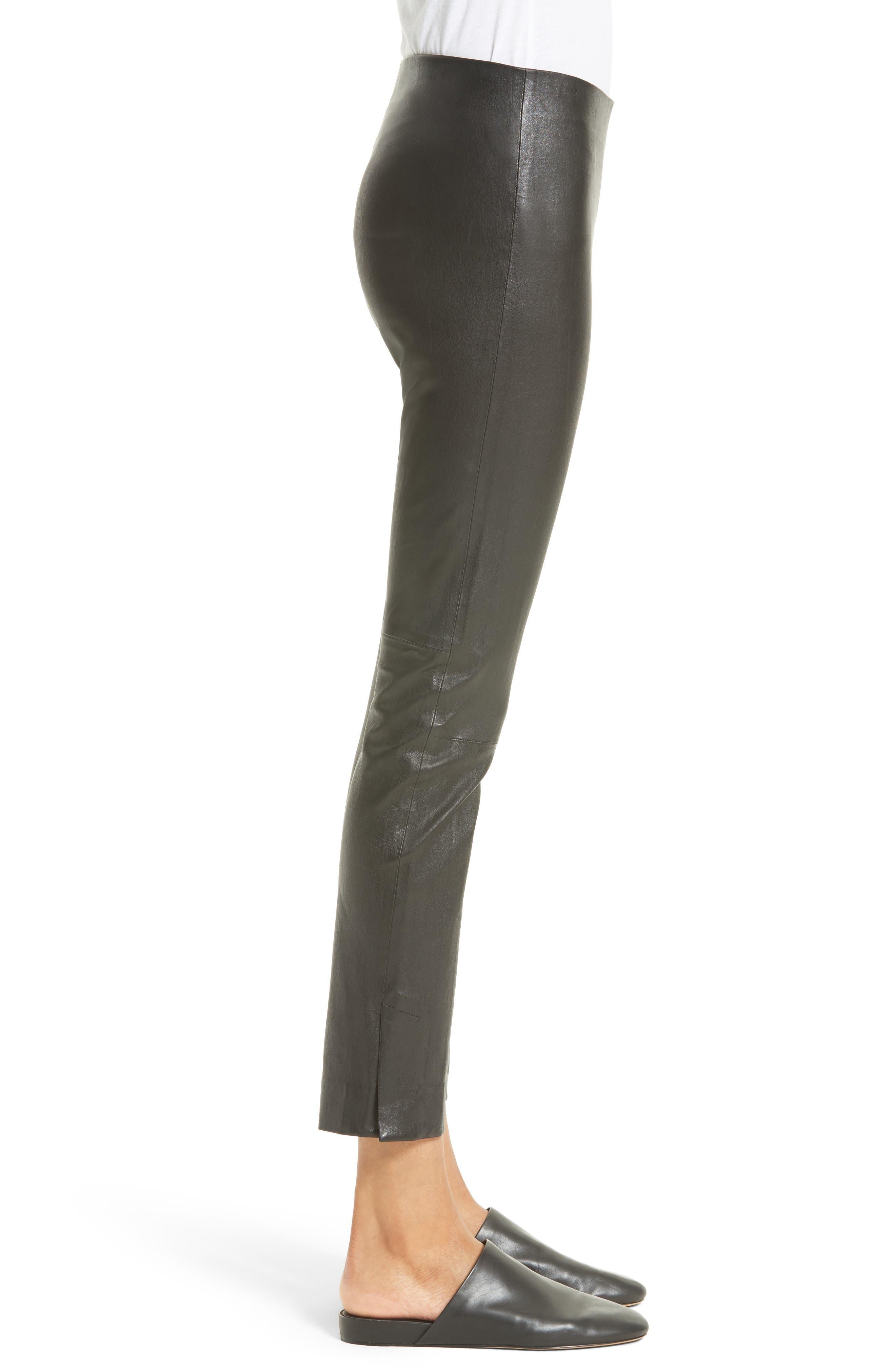 Slit Hem Crop Leather Pants,                             Alternate thumbnail 3, color,                             001