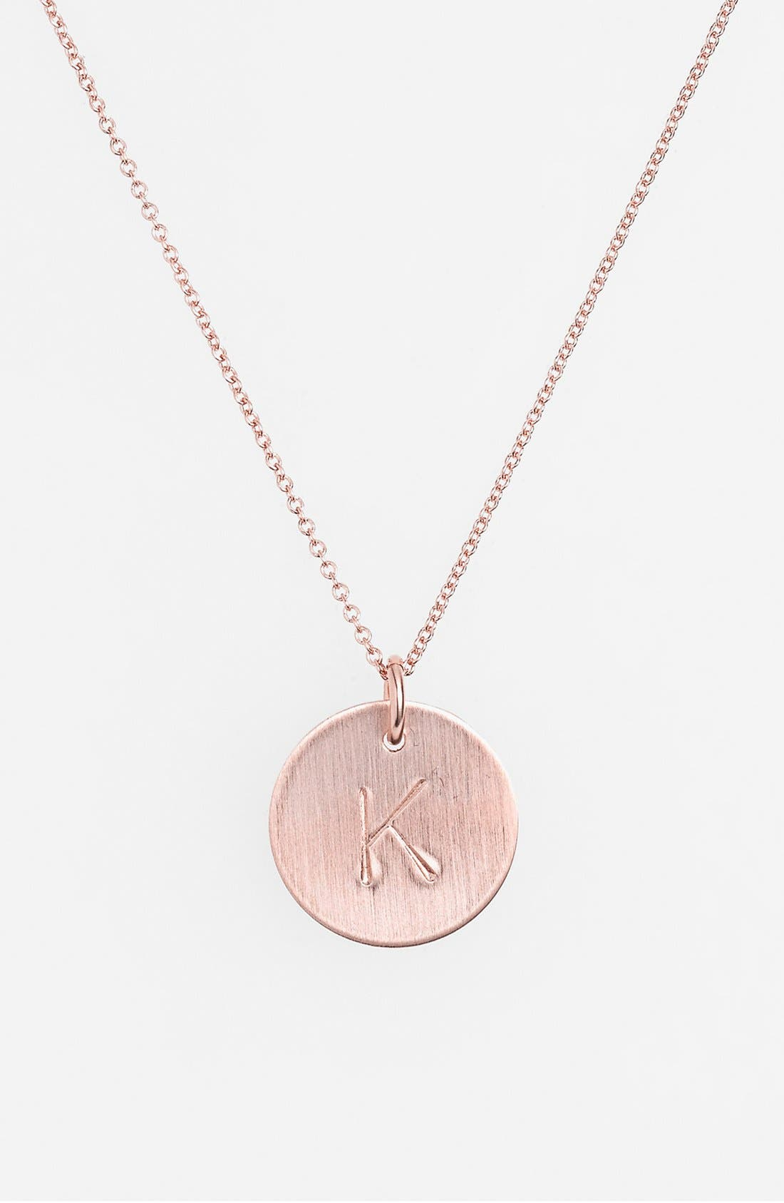 14k-Rose Gold Fill Initial Disc Necklace,                             Main thumbnail 11, color,