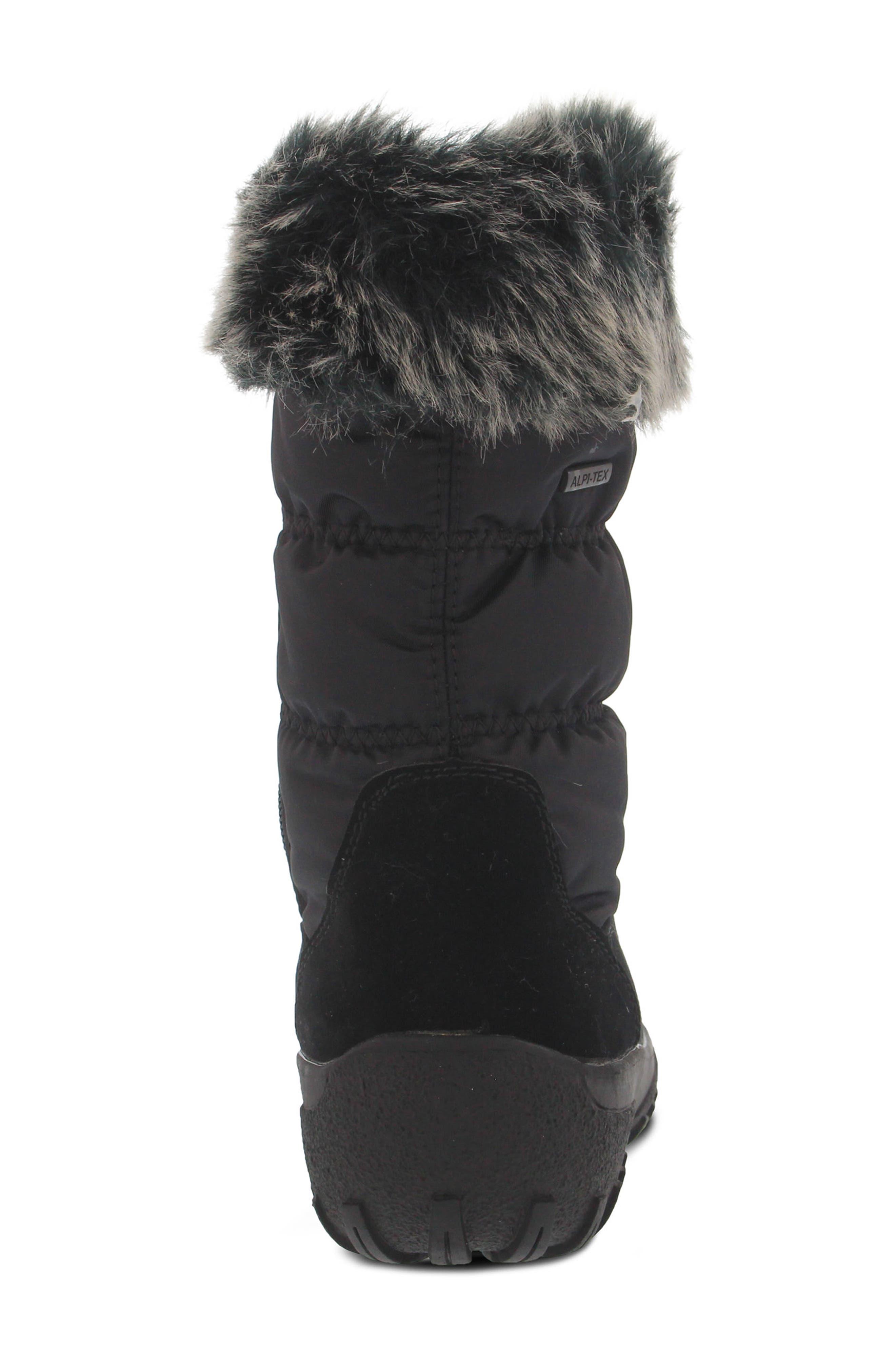 Rolim Faux Fur Trim Waterproof Boot,                             Alternate thumbnail 6, color,                             BLACK