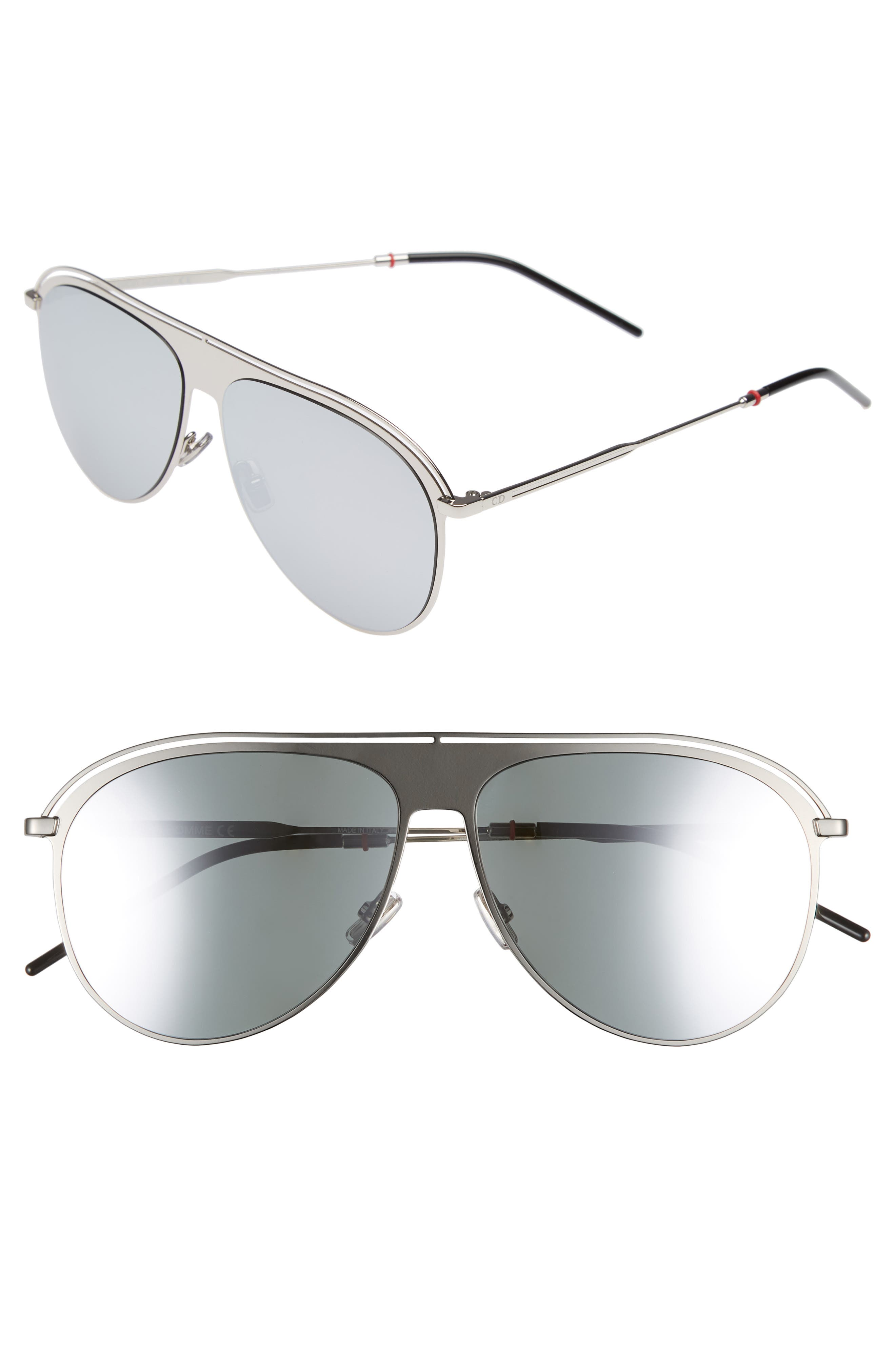 DIOR 59mm Polarized Aviator Sunglasses, Main, color, PALLADIUM/ POLAR