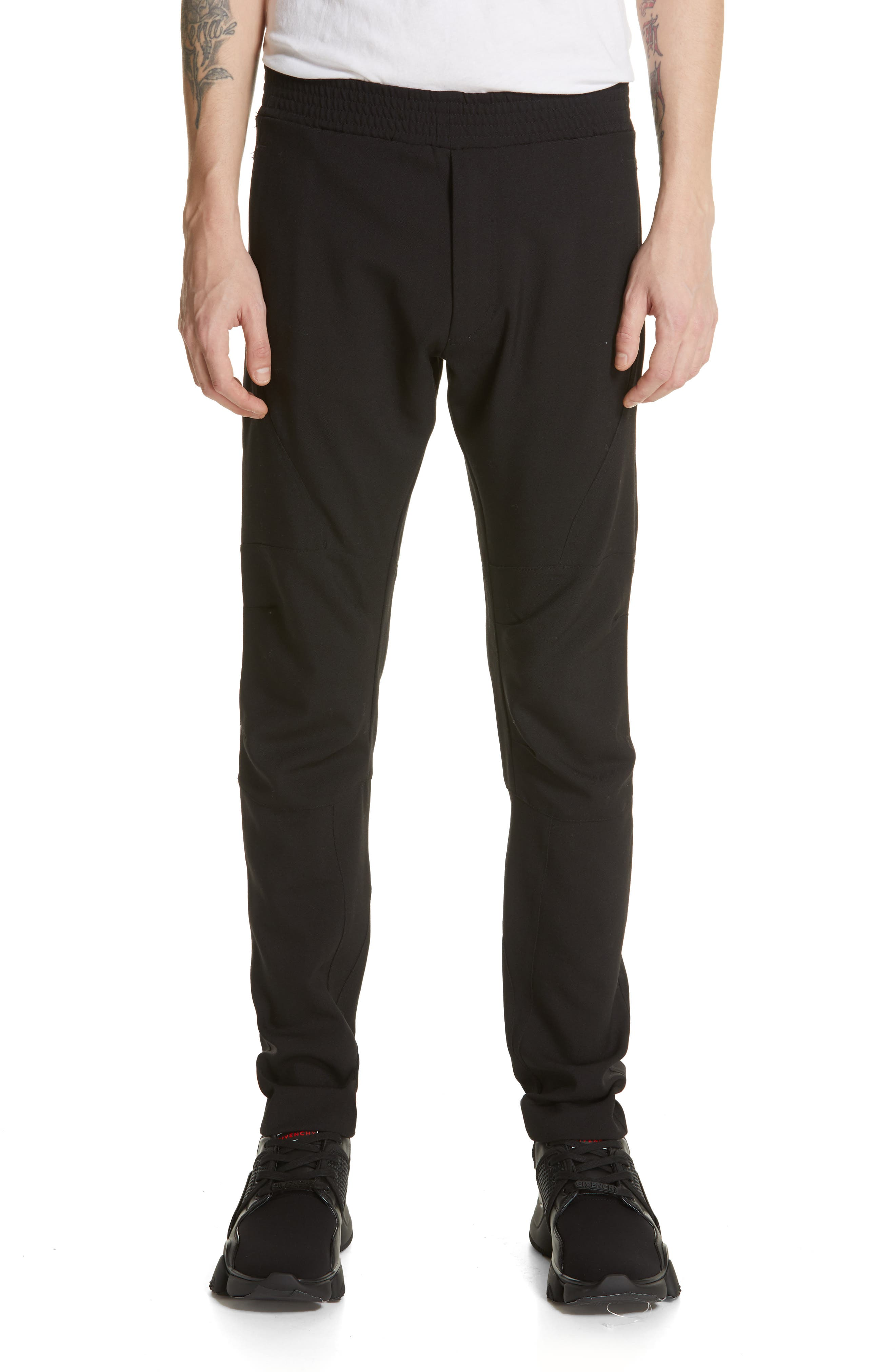 Wool & Mohair Biker Pants, Main, color, BLACK