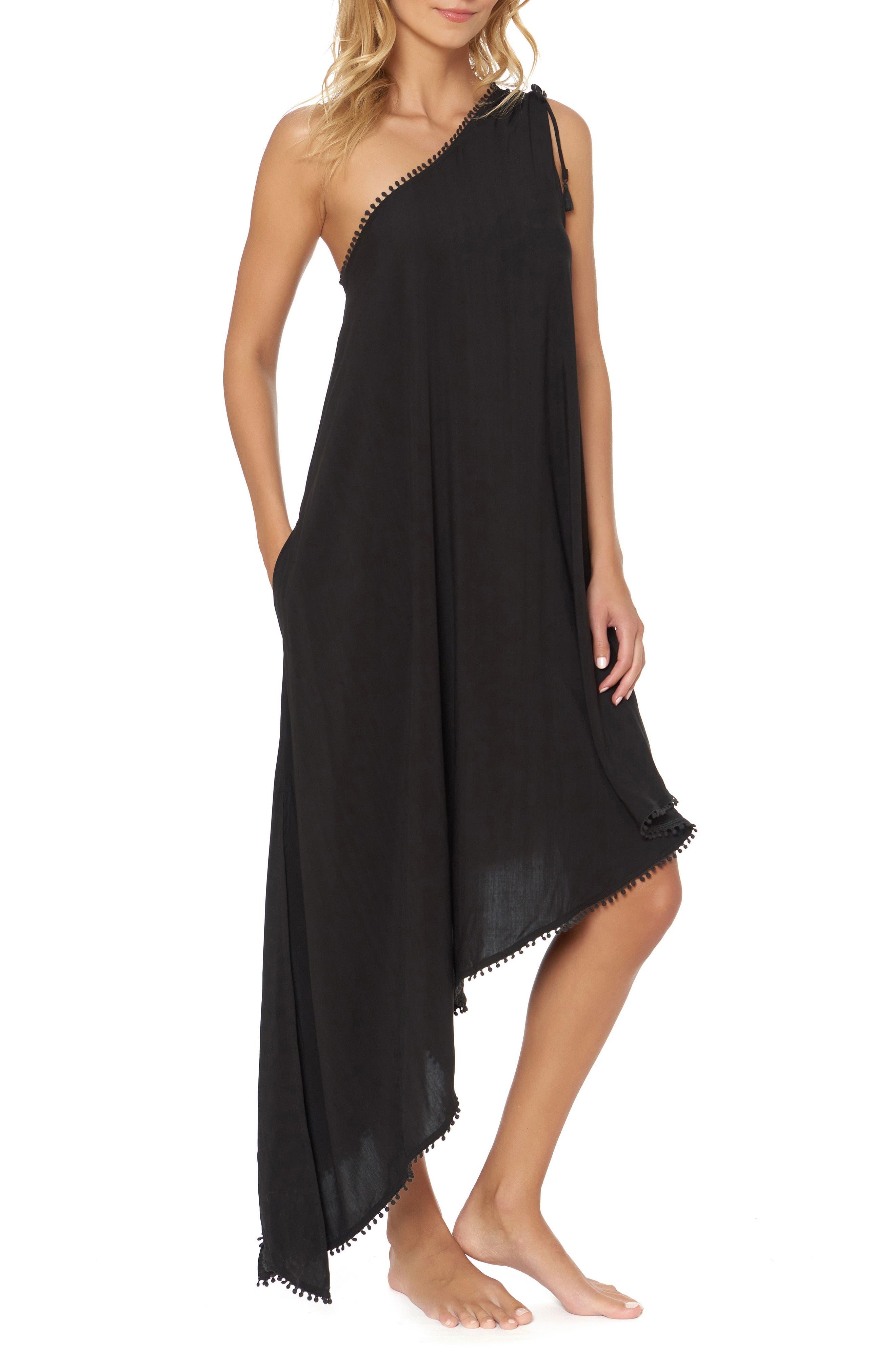 One-Shoulder Maxi Cover-Up Dress,                         Main,                         color, BLACK