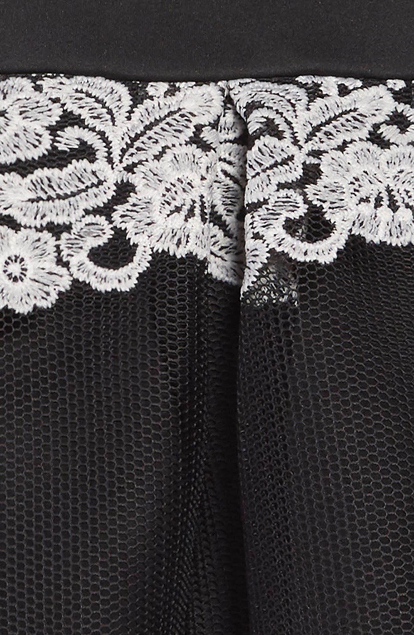 Cold Shoulder Scuba & Mesh Dress,                             Alternate thumbnail 3, color,                             001