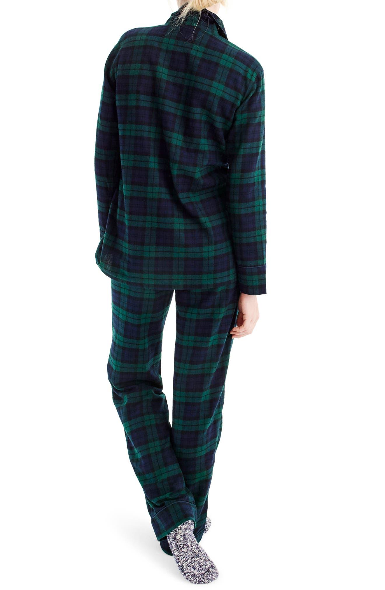 J.CREW,                             Blackwatch Flannel Pajamas,                             Alternate thumbnail 3, color,                             001