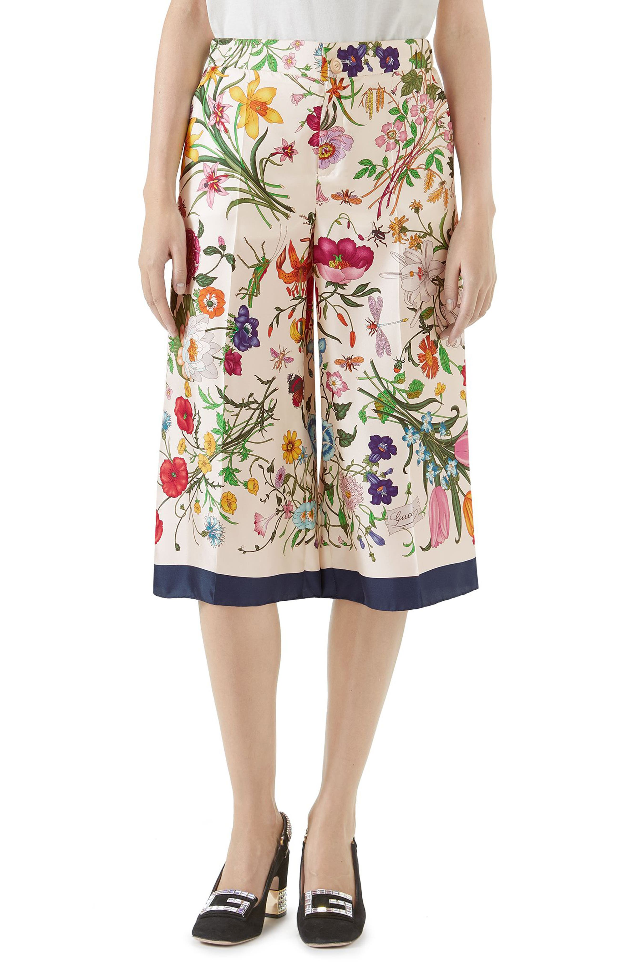 Floral Print Silk Foulard Culottes,                             Main thumbnail 1, color,                             BLUE/ IVORY PRINT