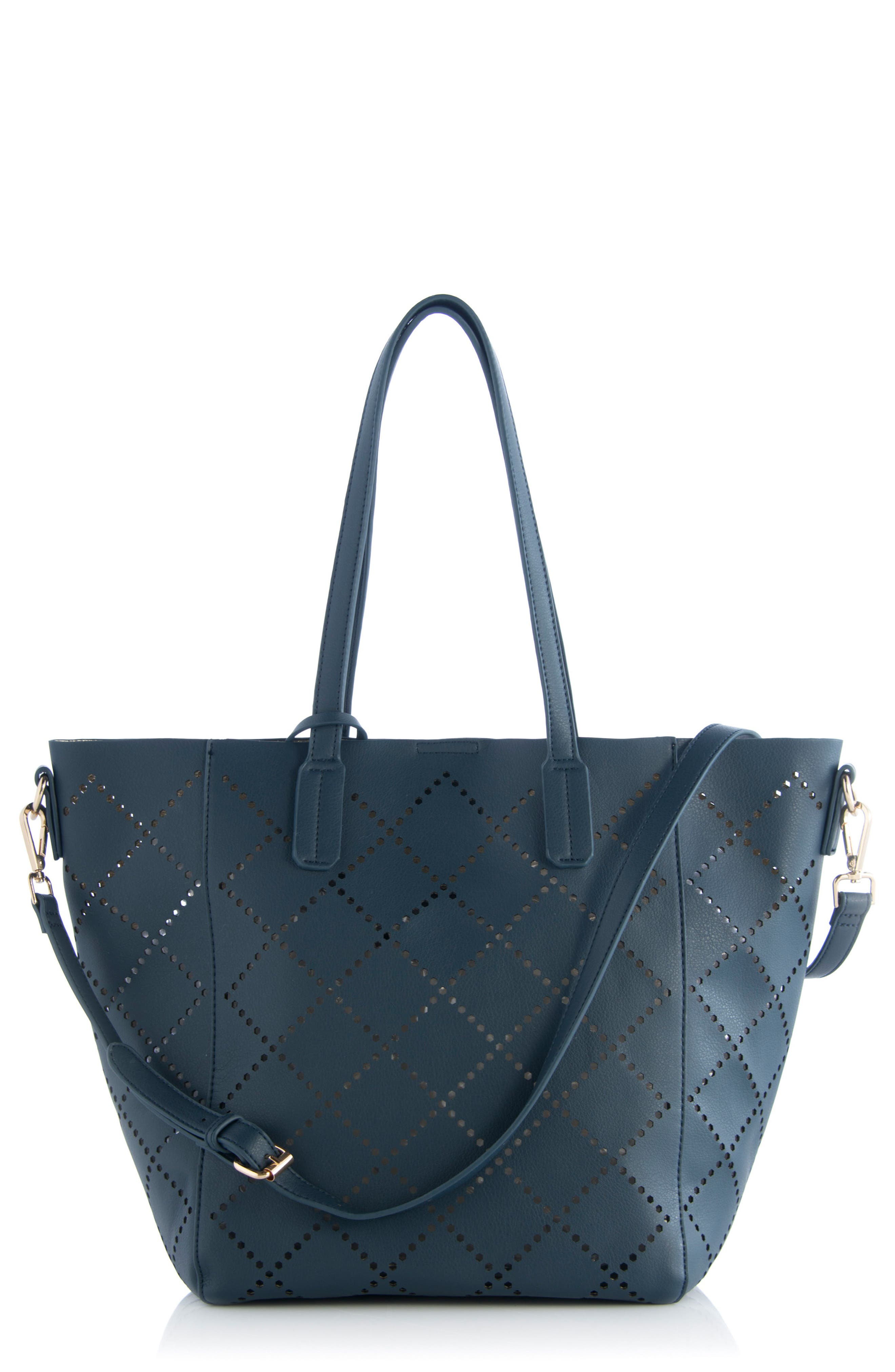 Perforated Faux Leather Tote,                             Main thumbnail 2, color,