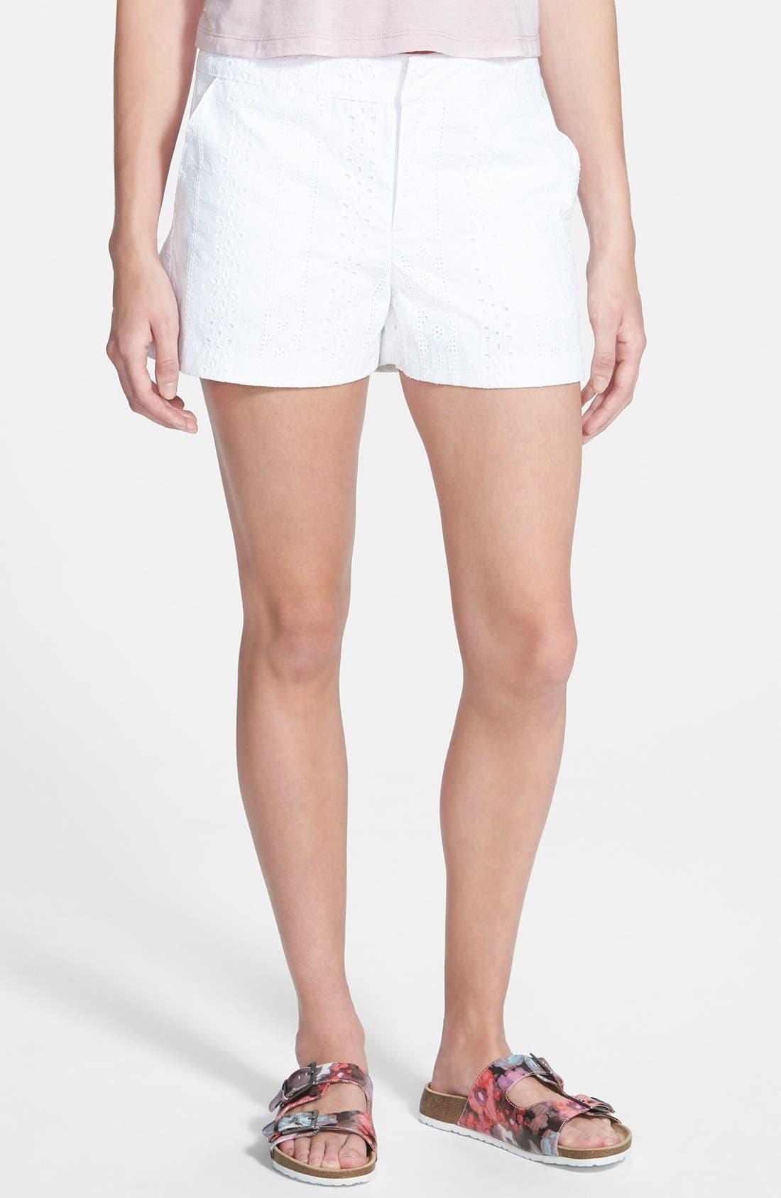Eyelet Shorts,                             Main thumbnail 1, color,                             100