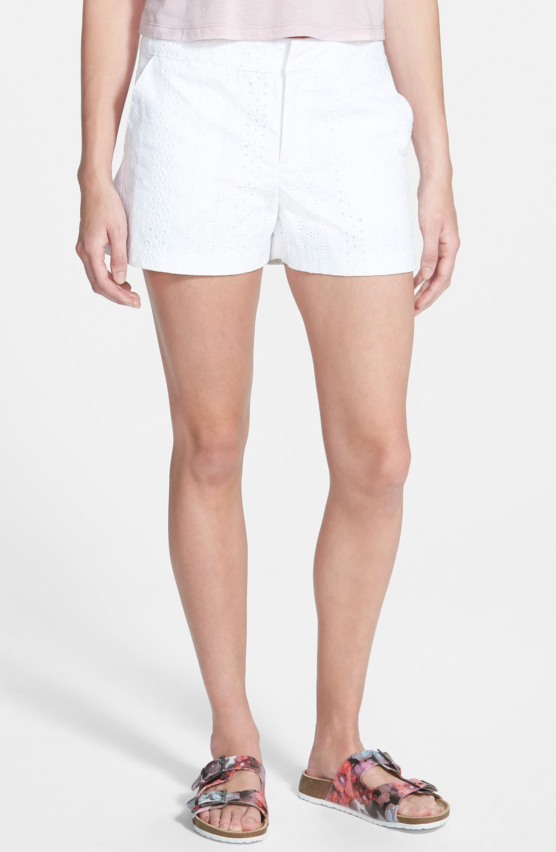 Eyelet Shorts,                         Main,                         color, 100