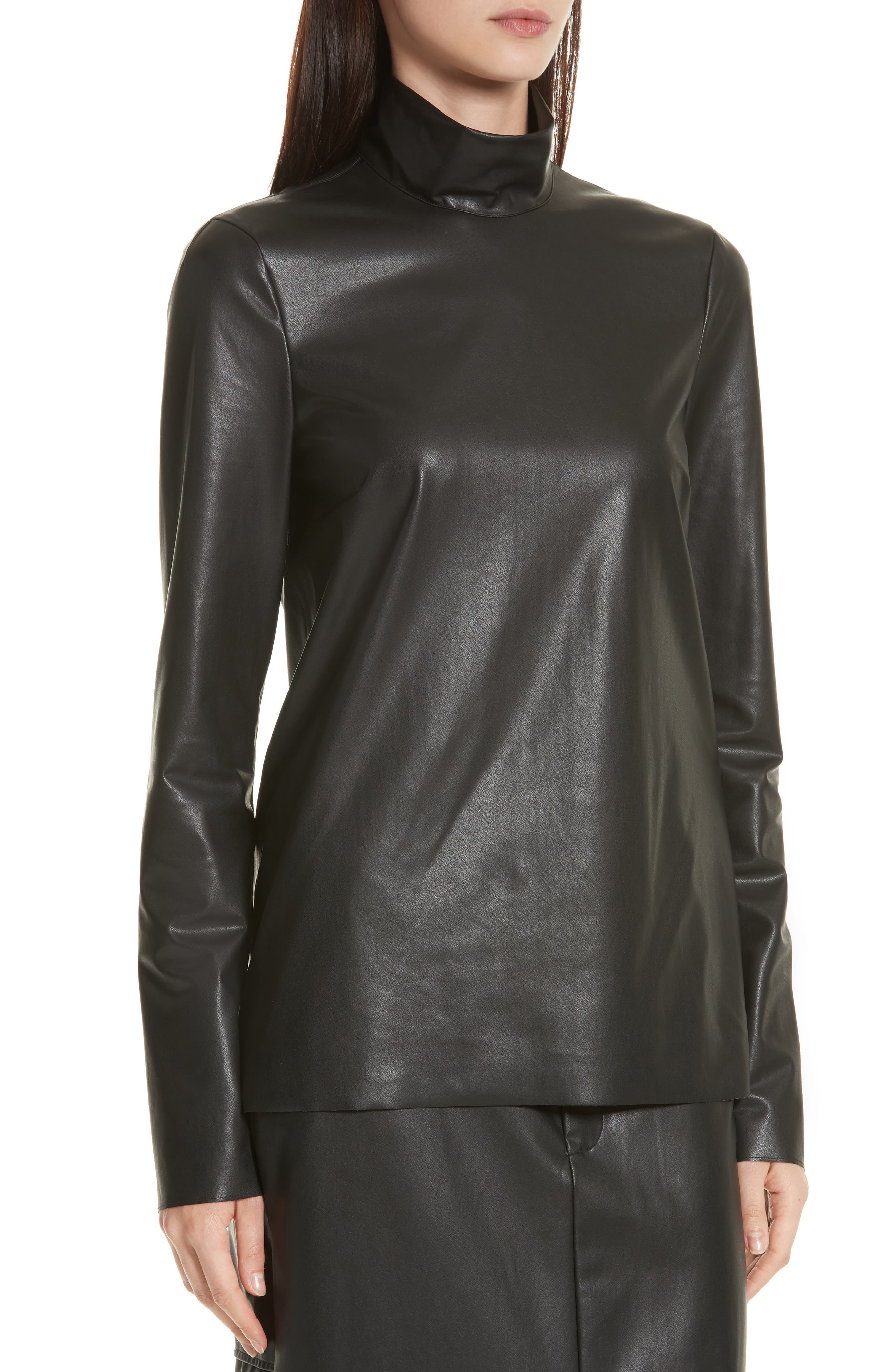 Vienna Feather Sky Faux Leather Top,                             Alternate thumbnail 4, color,