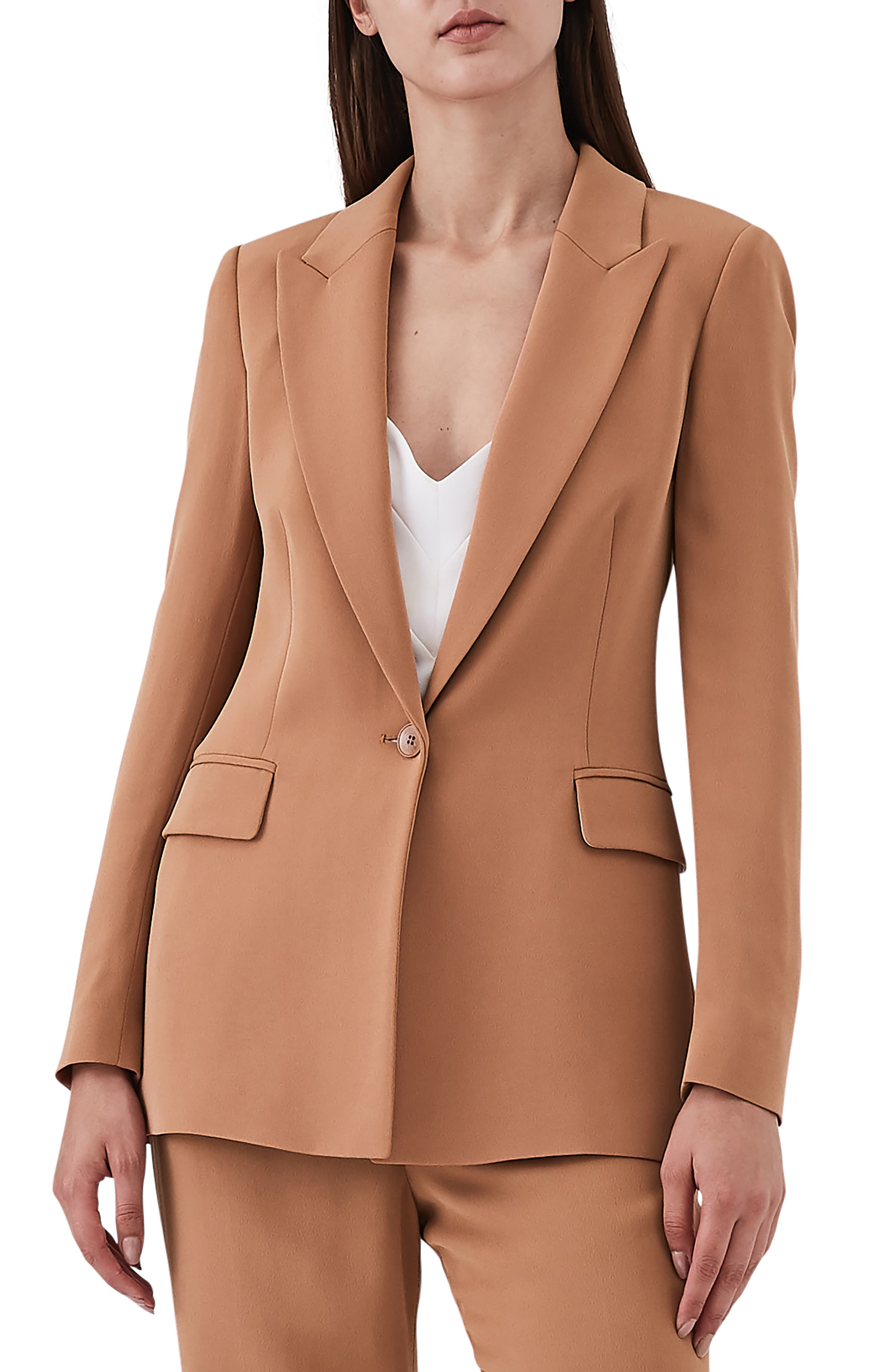 REISS Nuria Slim-Cut Blazer in Rust