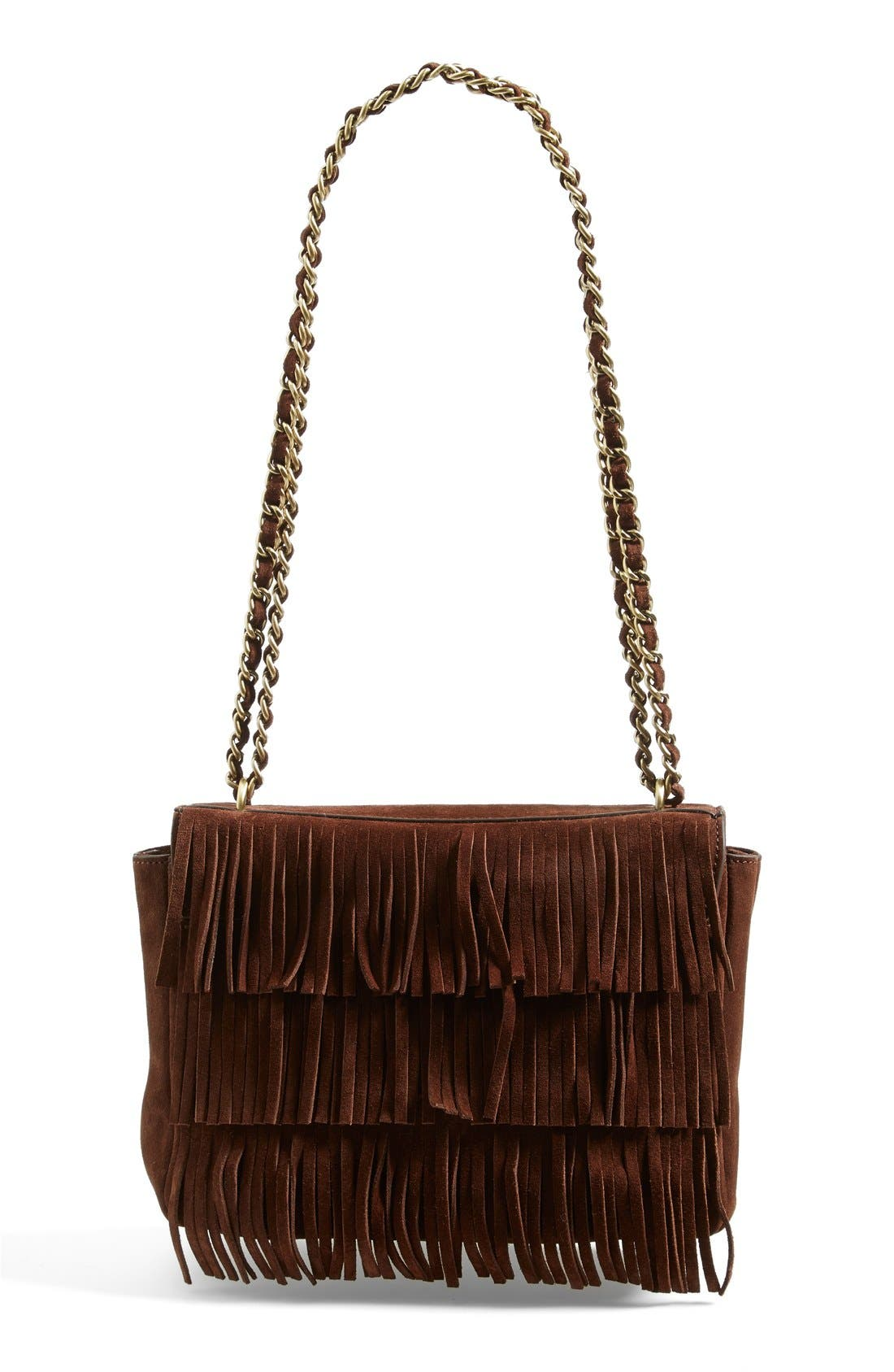 TORY BURCH Fringe Shoulder Bag, Main, color, 201