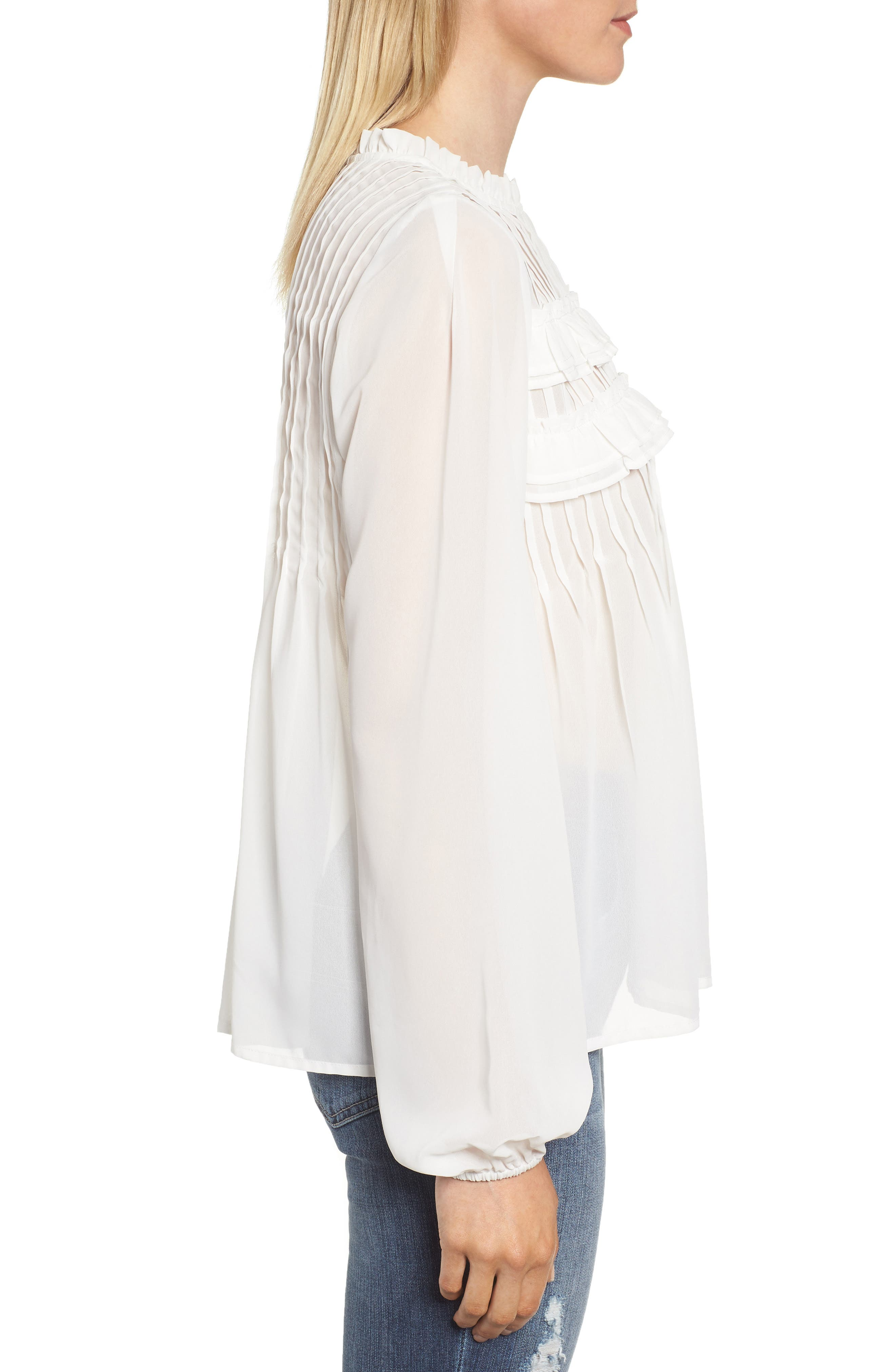 Pintucked Chiffon Blouse,                             Alternate thumbnail 3, color,                             OFF WHITE