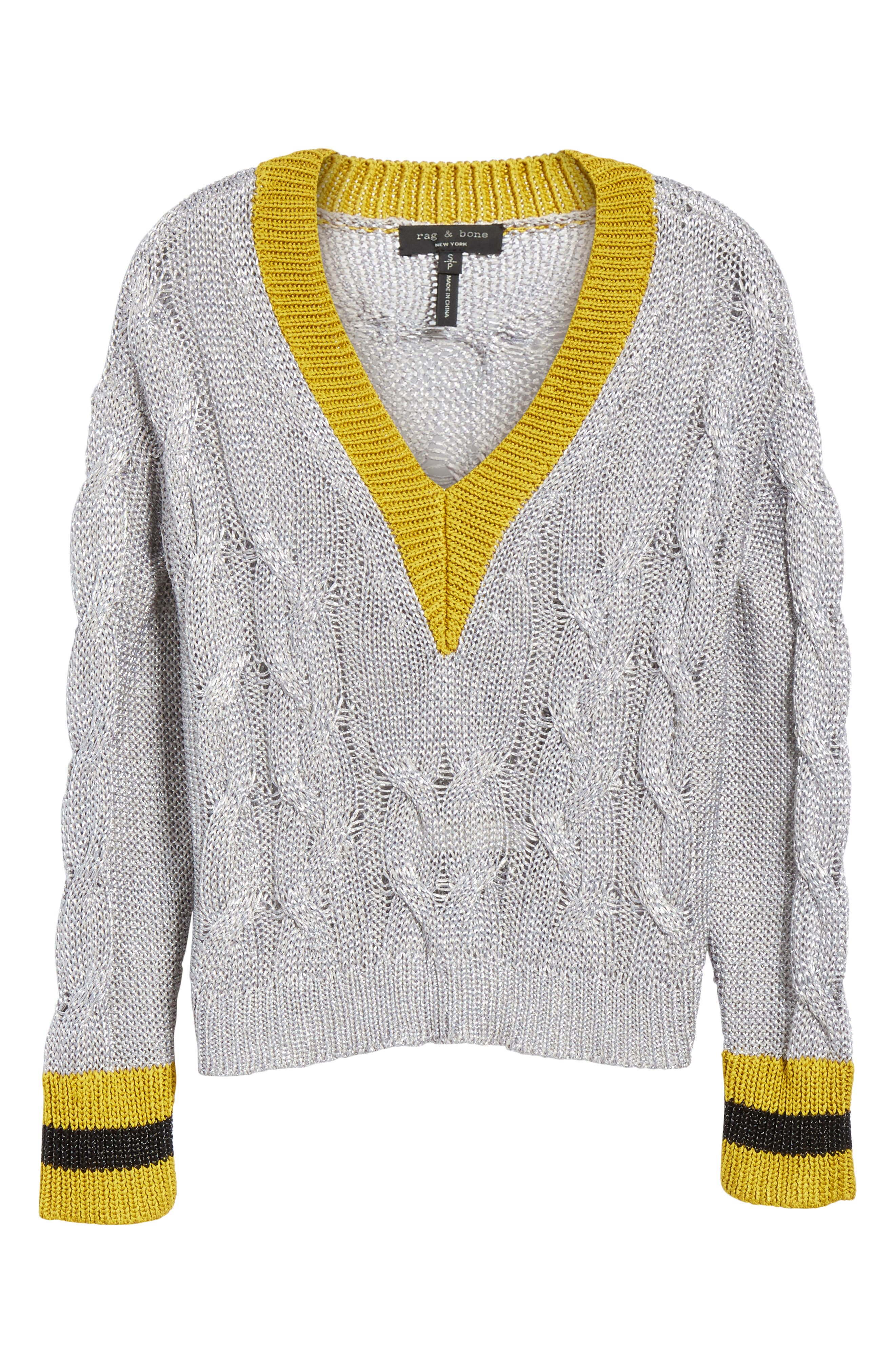 Emma Cable Knit Sweater,                             Alternate thumbnail 6, color,                             023