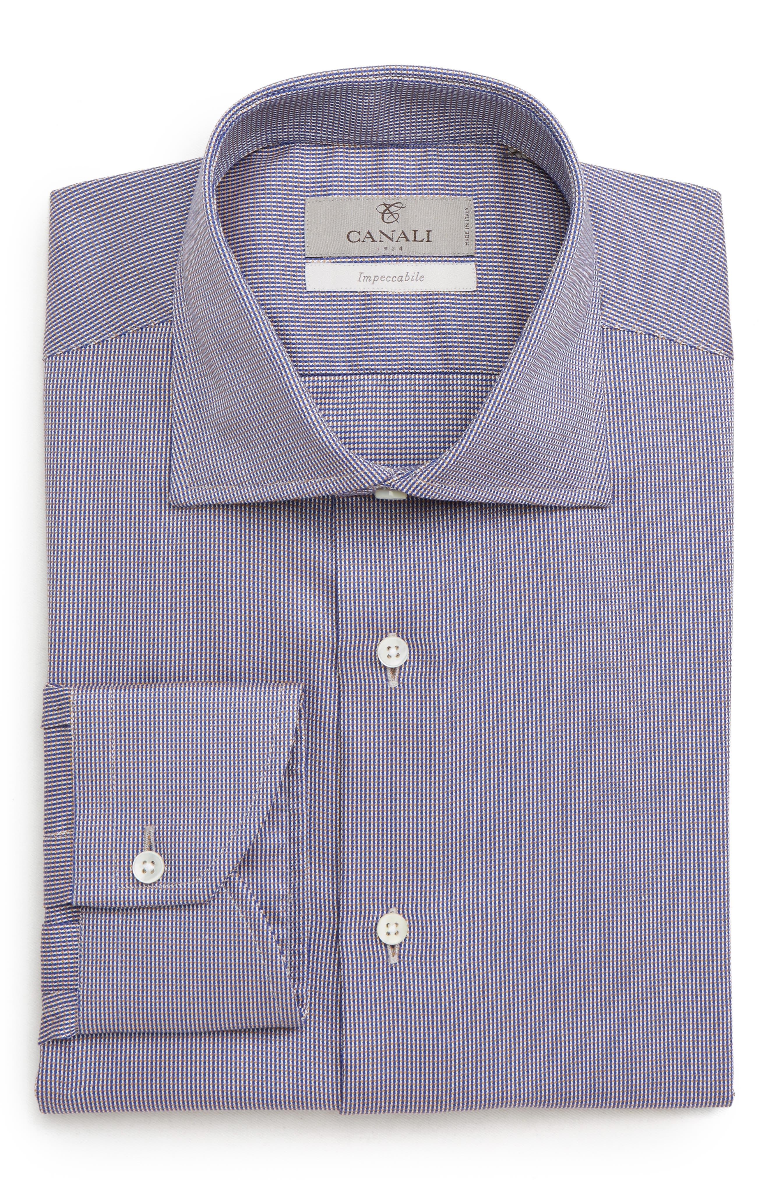 Trim Fit Check Dress Shirt,                         Main,                         color, BROWN