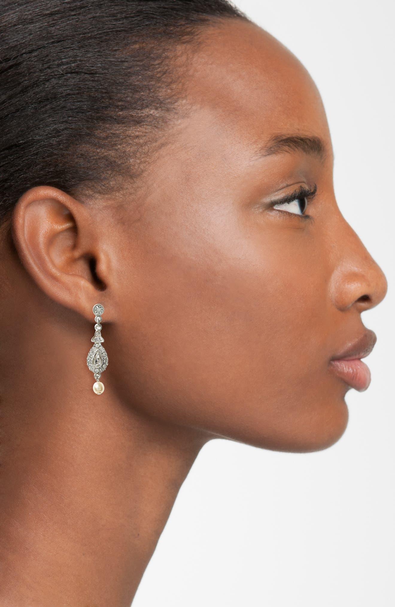 Glass Pearl & Swarovski Crystal Drop Earrings,                             Alternate thumbnail 2, color,                             SILVER / IVORY