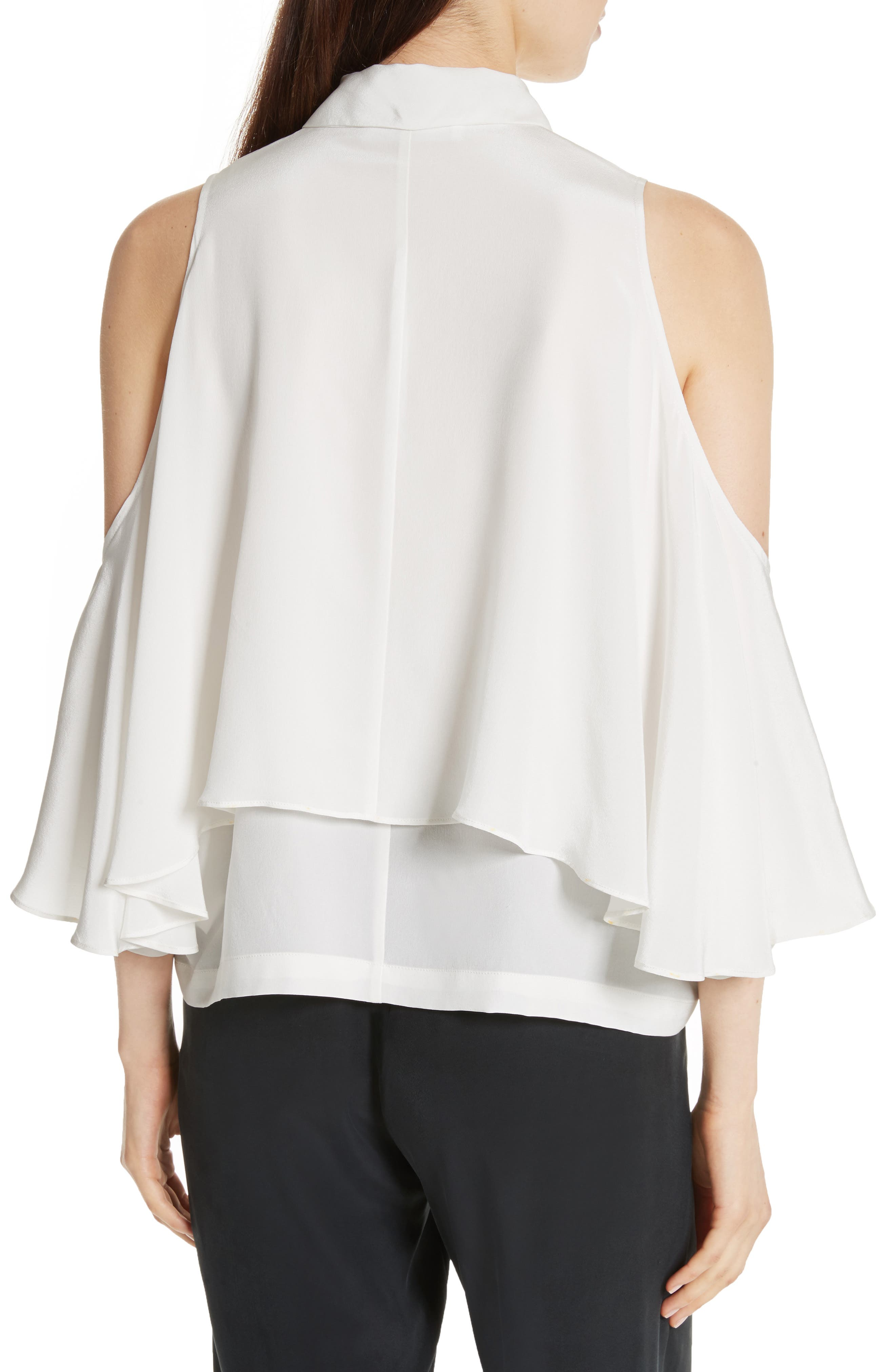 Drape Silk Cold Shoulder Top,                             Alternate thumbnail 2, color,                             900