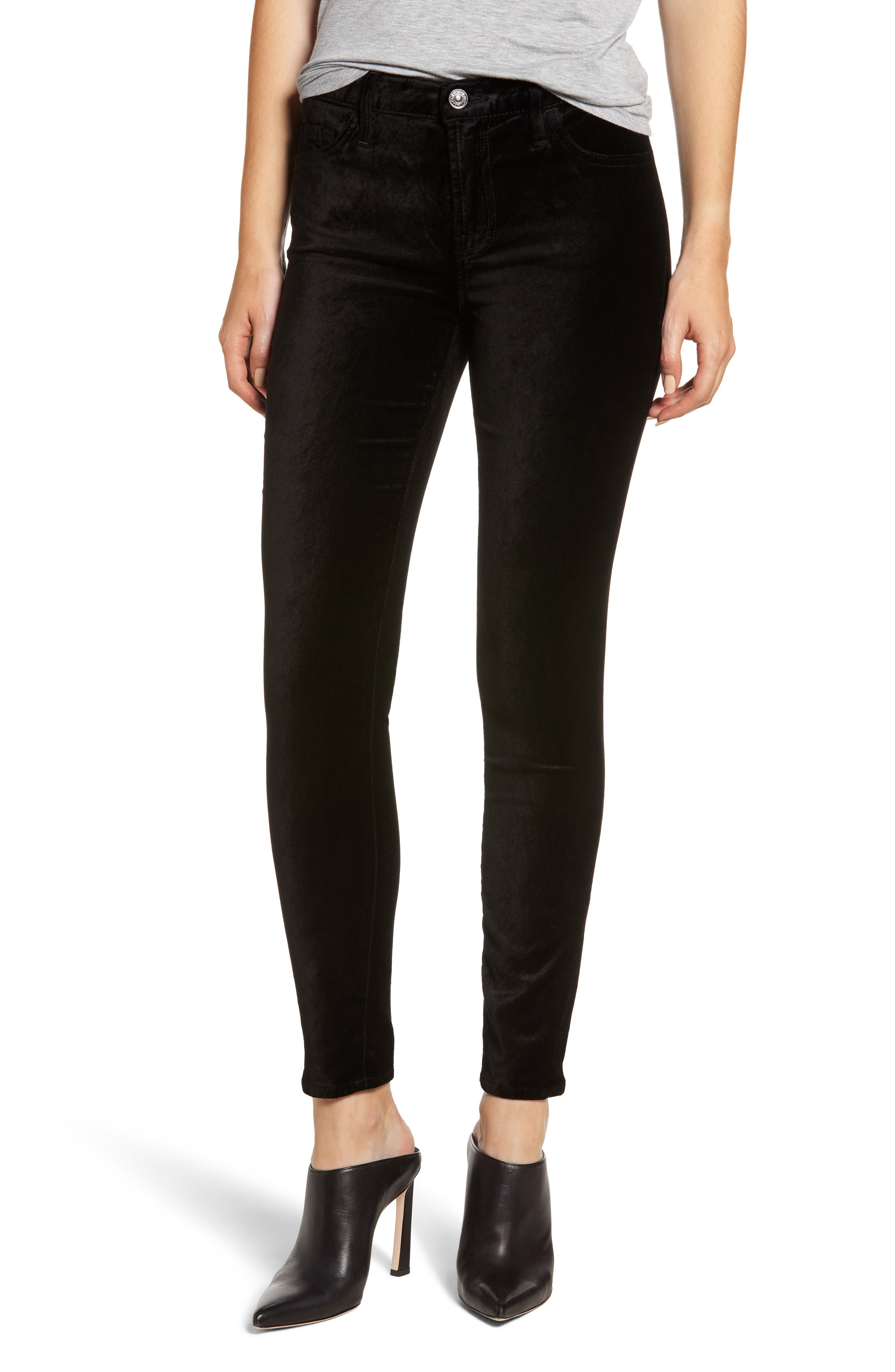 Velvet Ankle Skinny Jeans,                         Main,                         color, VELVET BLACK