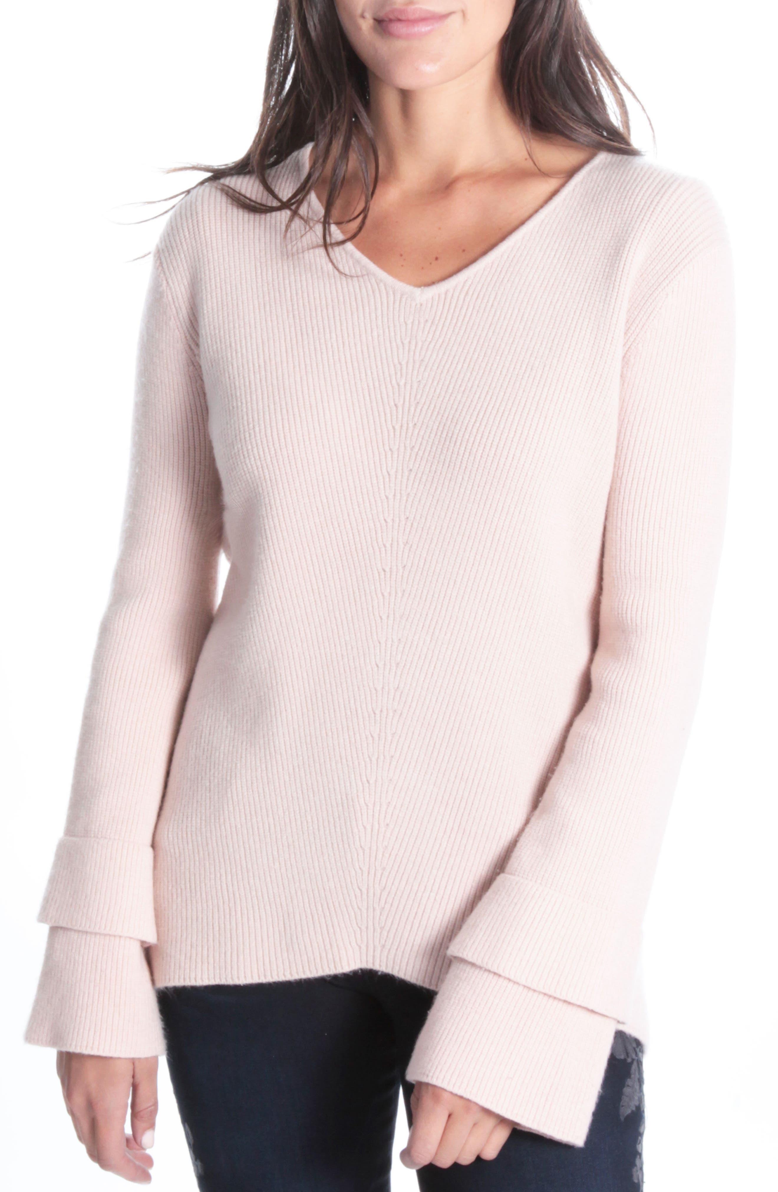 Dariella V-Neck Bell Cuff Sweater,                             Main thumbnail 1, color,