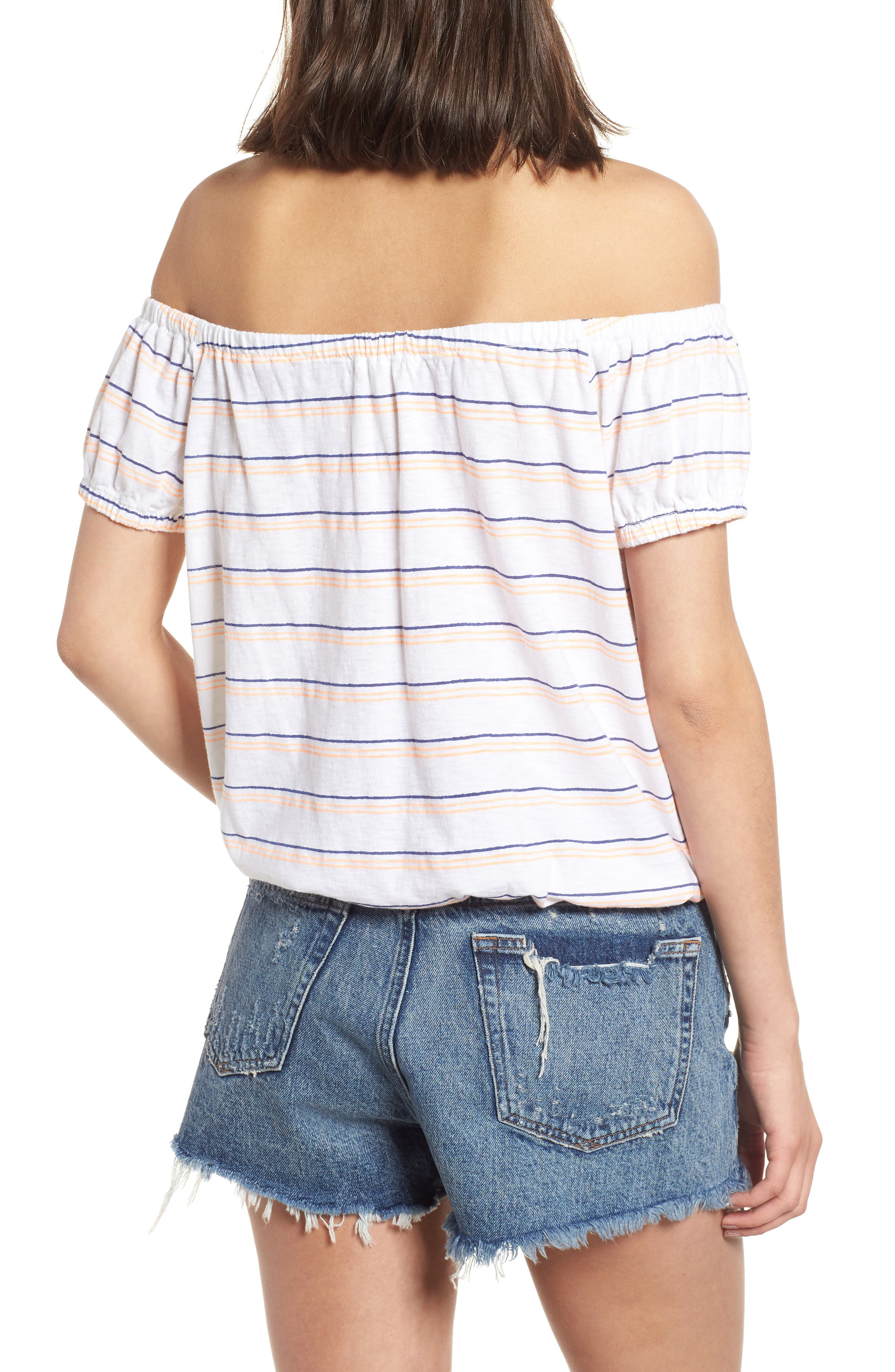 Stripe Off the Shoulder Tee,                             Alternate thumbnail 2, color,                             100