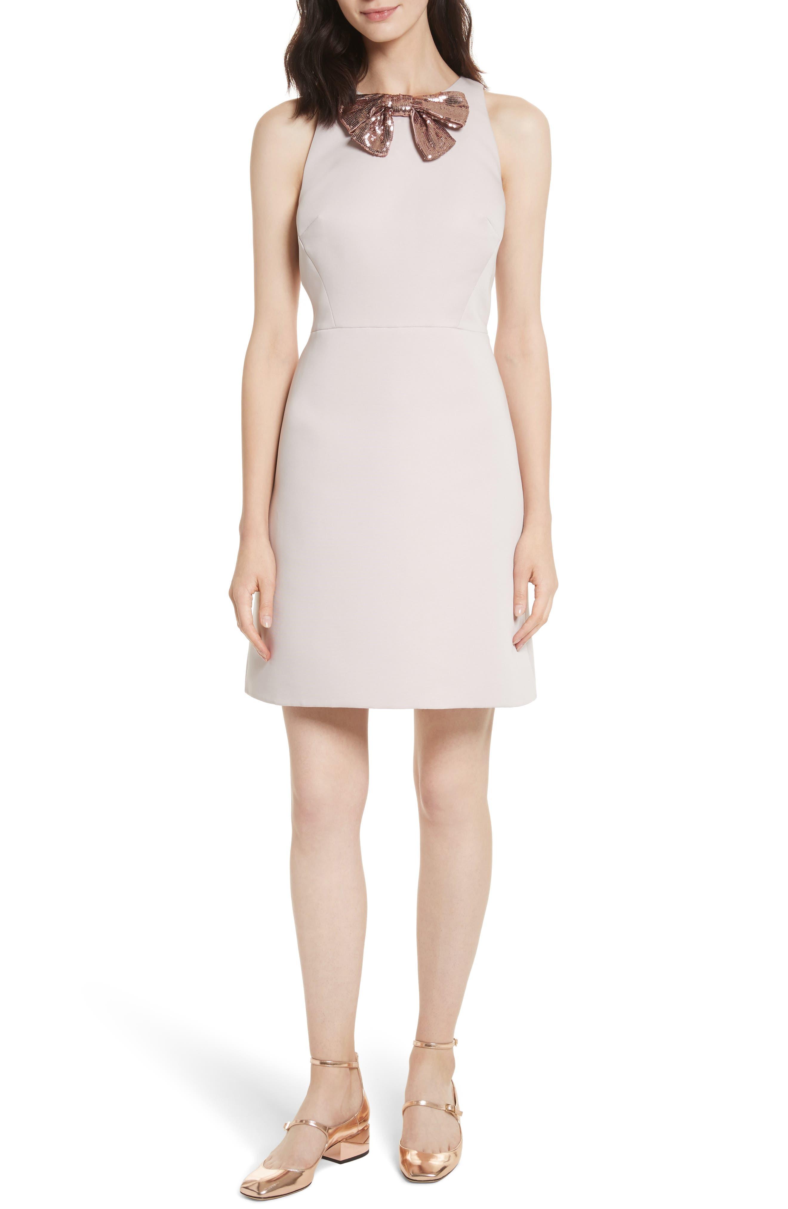 sequin bow A-line dress,                             Main thumbnail 1, color,                             672